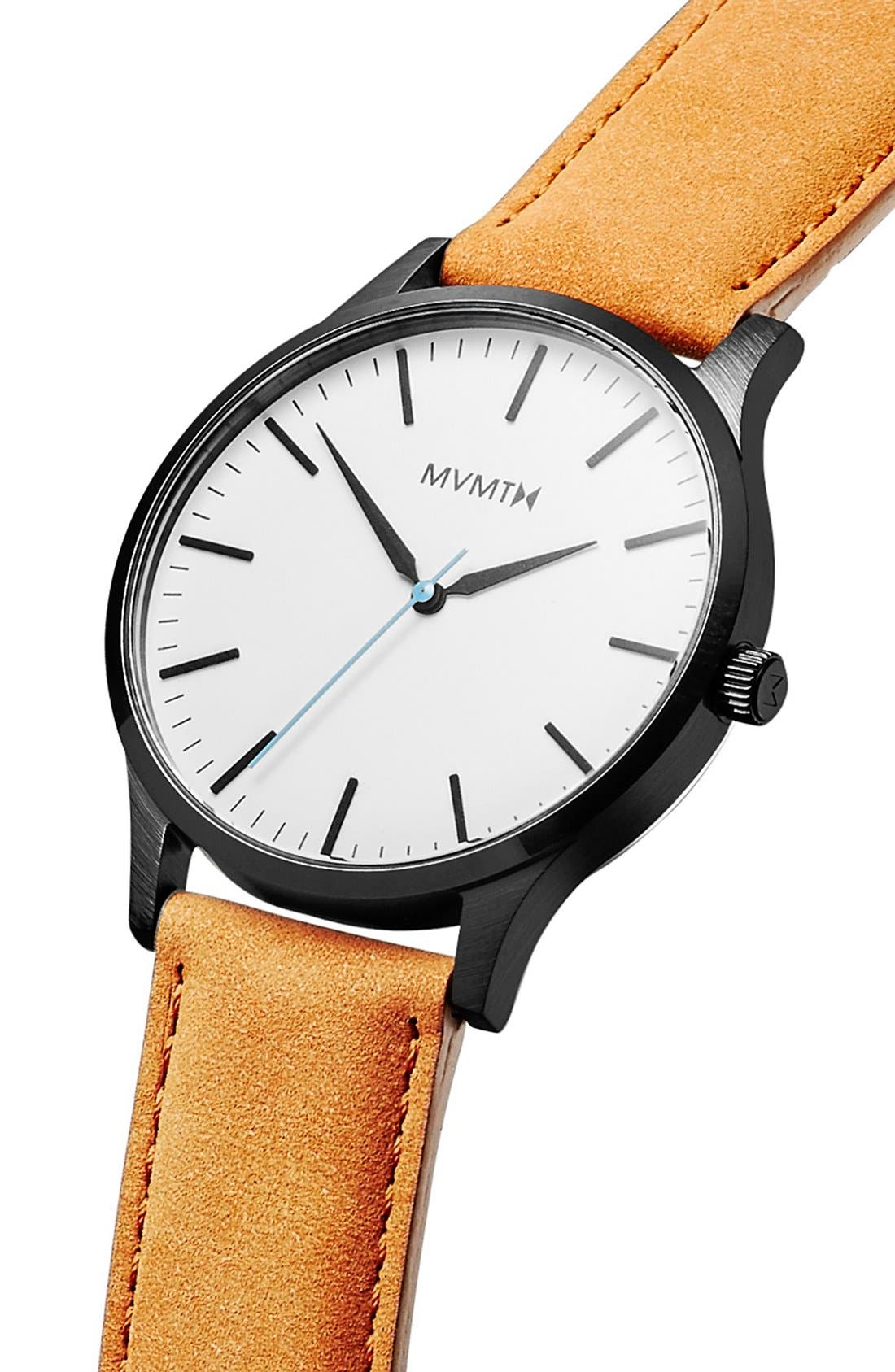 Leather Strap Watch, 40mm,                             Alternate thumbnail 3, color,                             WHITE/ TAN