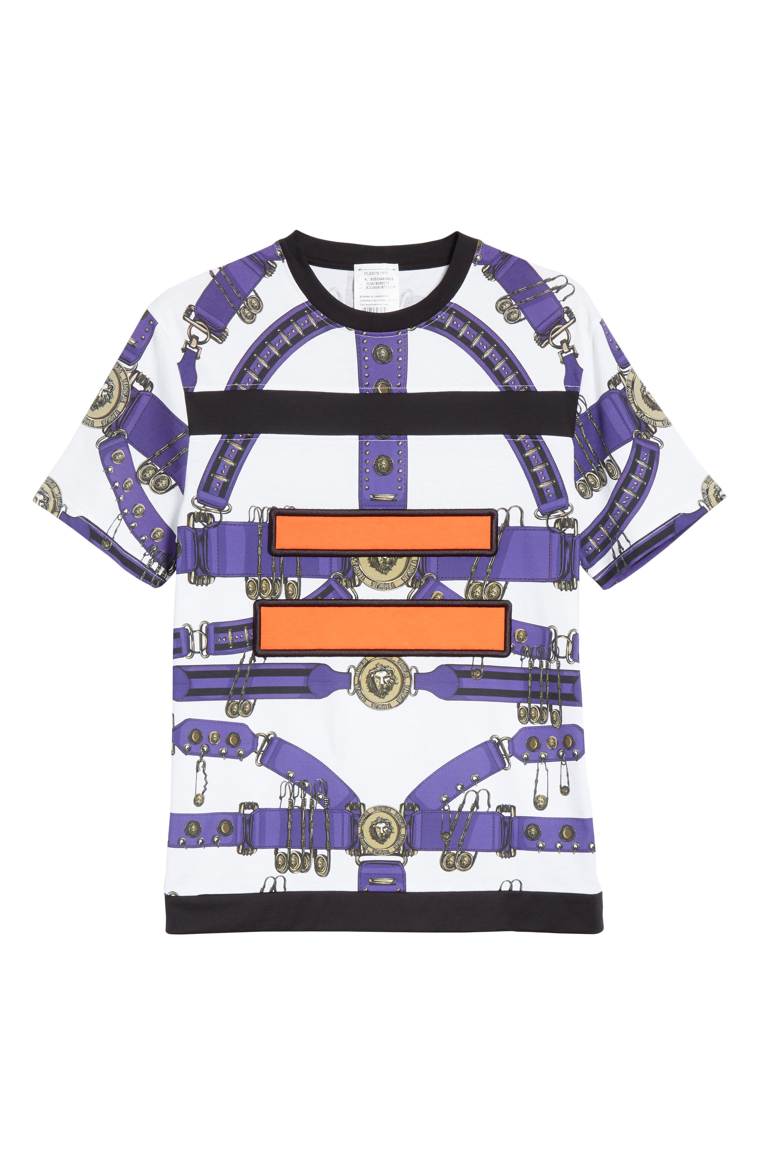 Safety Pin Harness T-Shirt,                             Alternate thumbnail 6, color,                             PURPLE AND WHITE