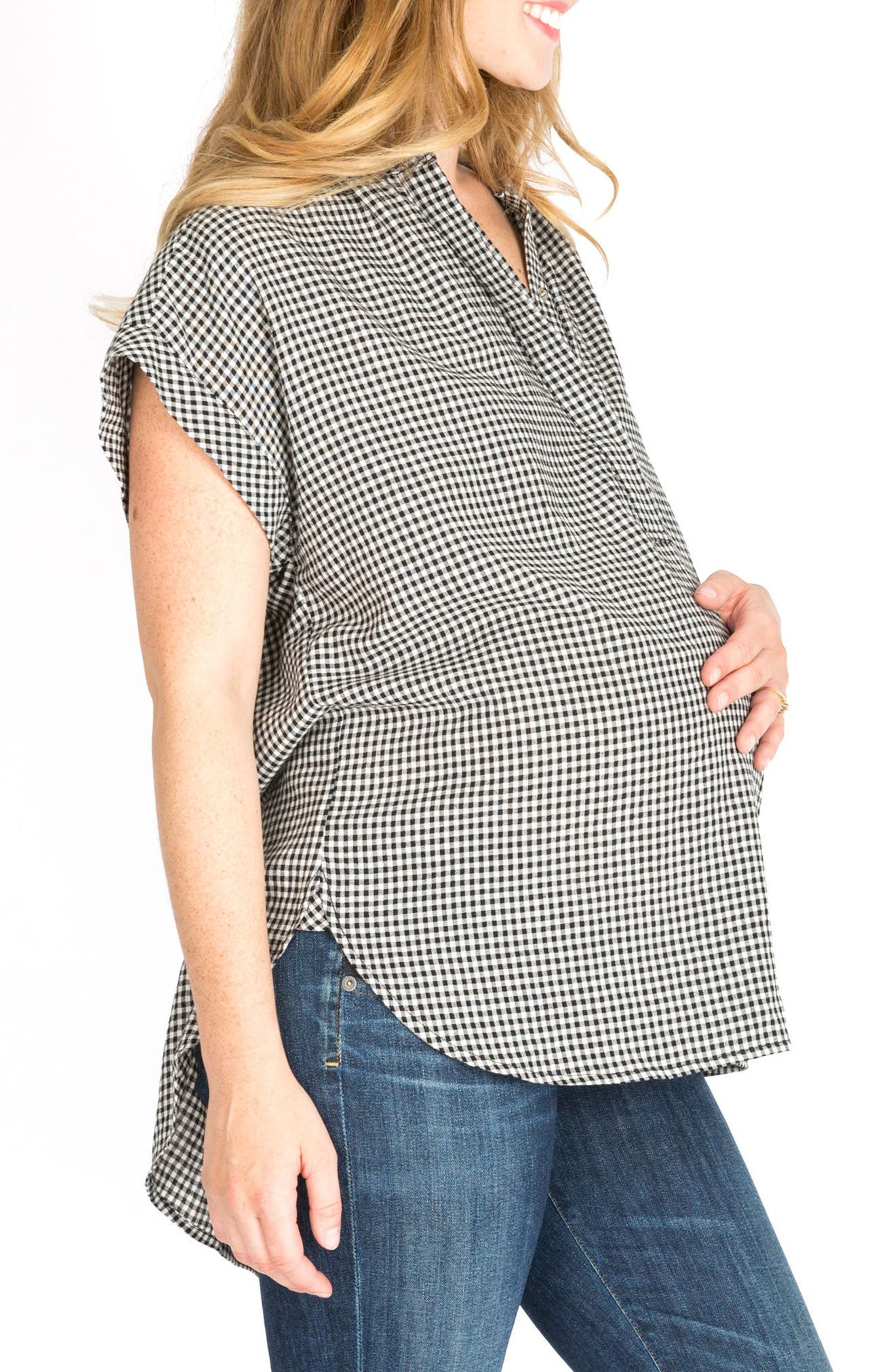 Iris High/Low Maternity/Nursing Blouse,                             Alternate thumbnail 3, color,                             GINGHAM