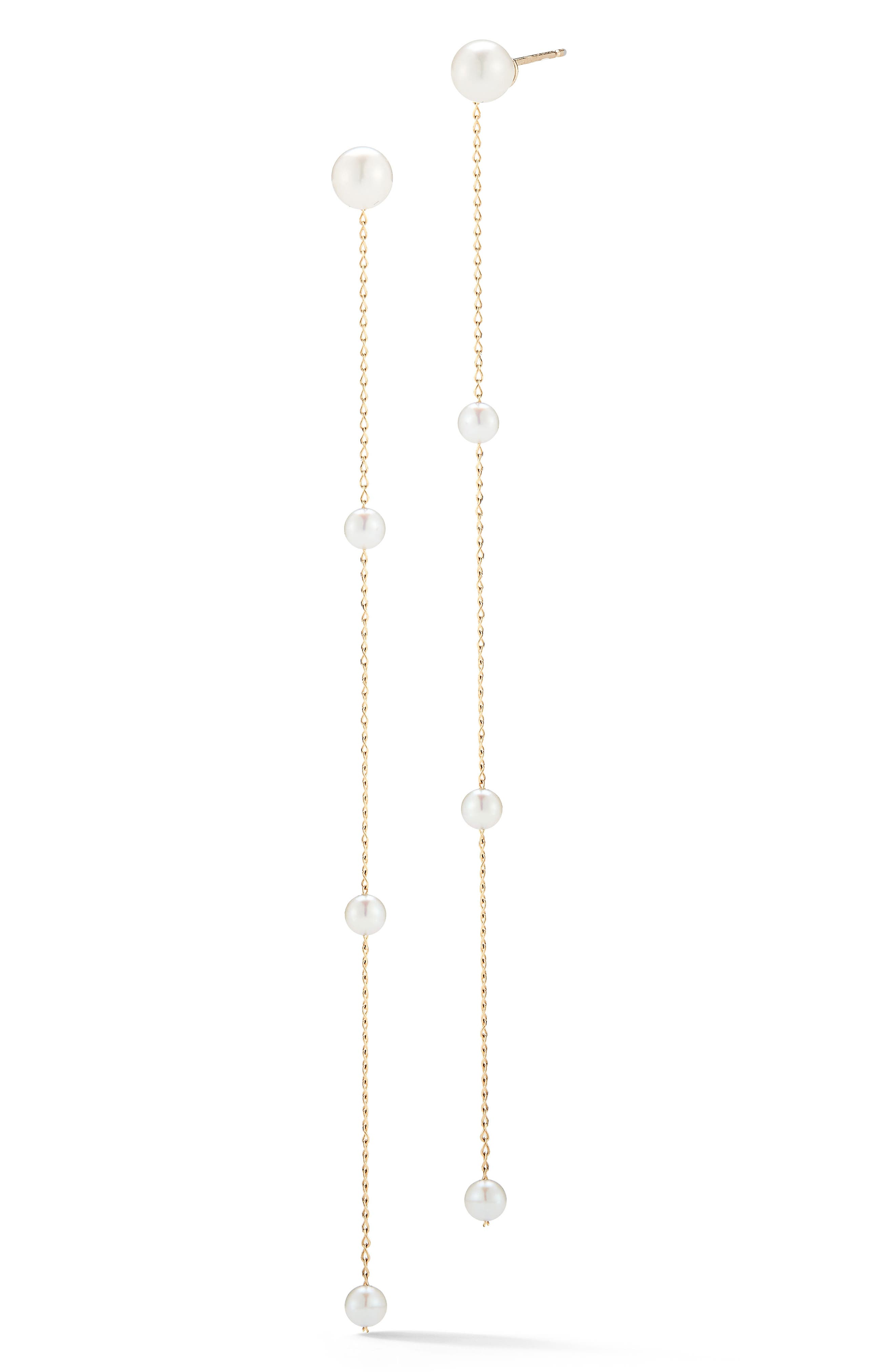 Pearl Station Linear Drop Earrings,                             Main thumbnail 1, color,                             YELLOW GOLD