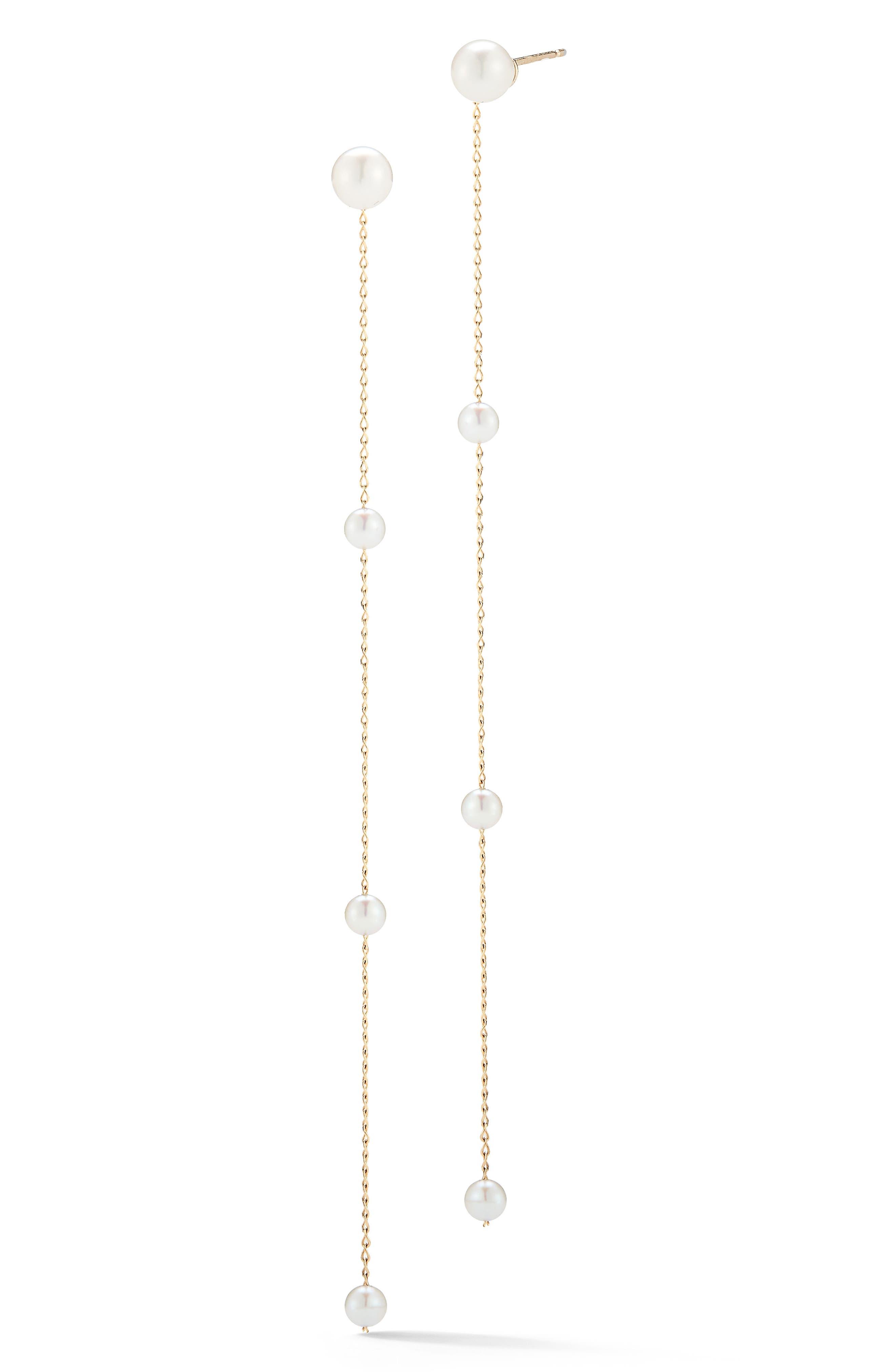 Pearl Station Linear Drop Earrings,                             Main thumbnail 1, color,