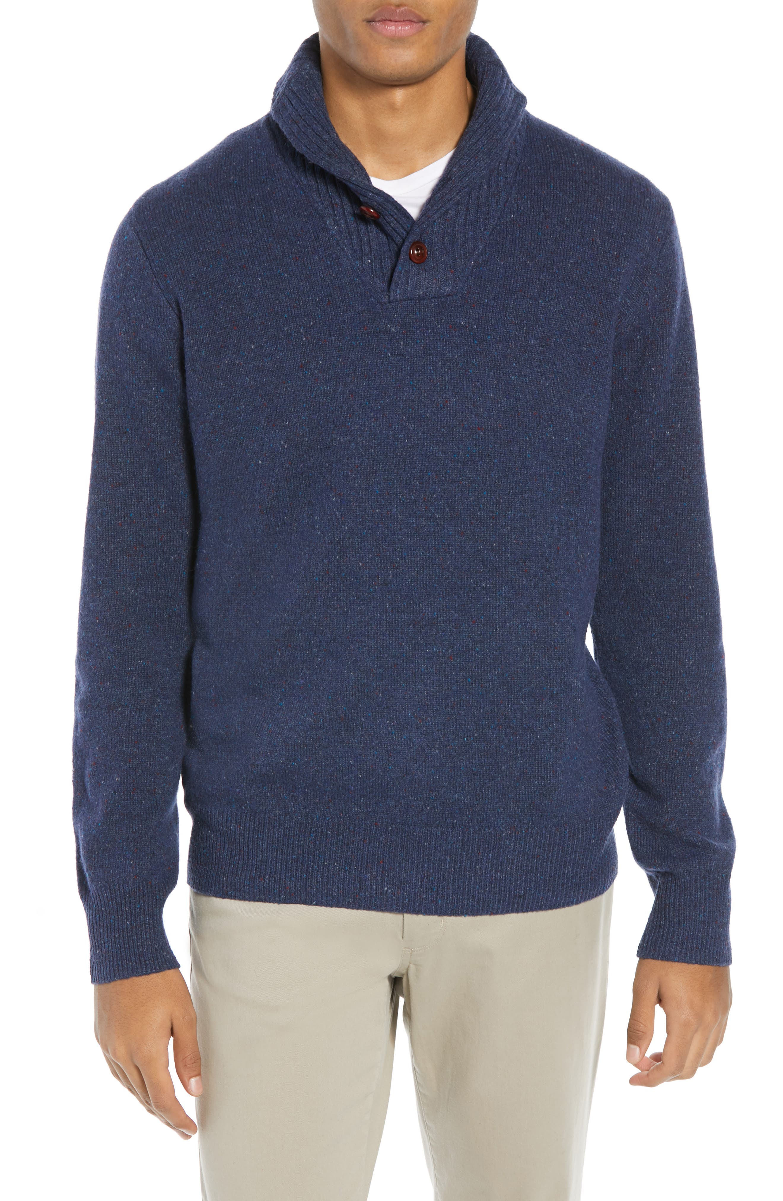 Rugged Merino Wool Blend Shawl Collar Pullover Sweater,                             Main thumbnail 1, color,                             NAVY DONEGAL