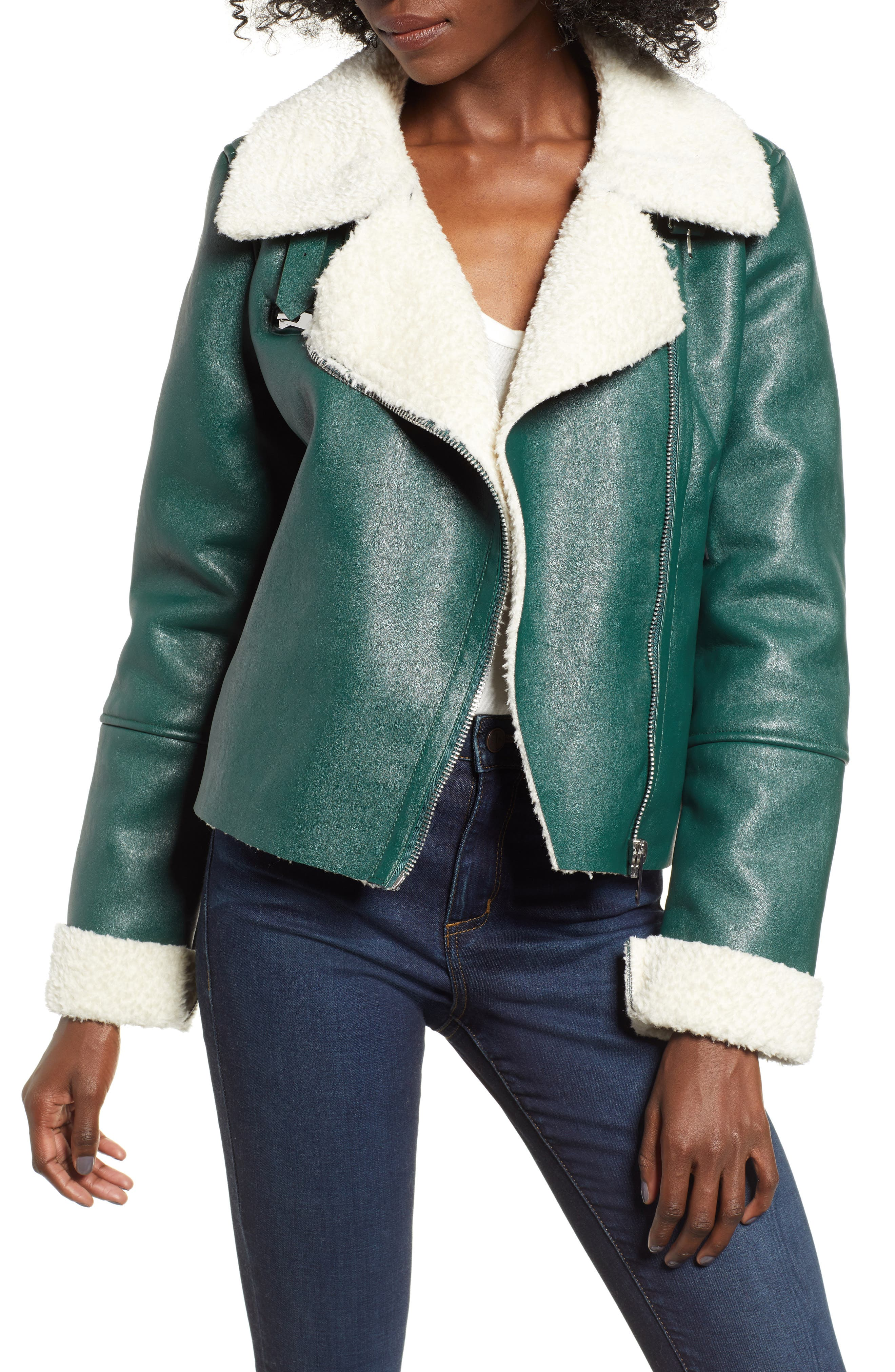 Moto Jacket with Faux Shearling Lining,                             Main thumbnail 1, color,                             OUT OF THE WOODS