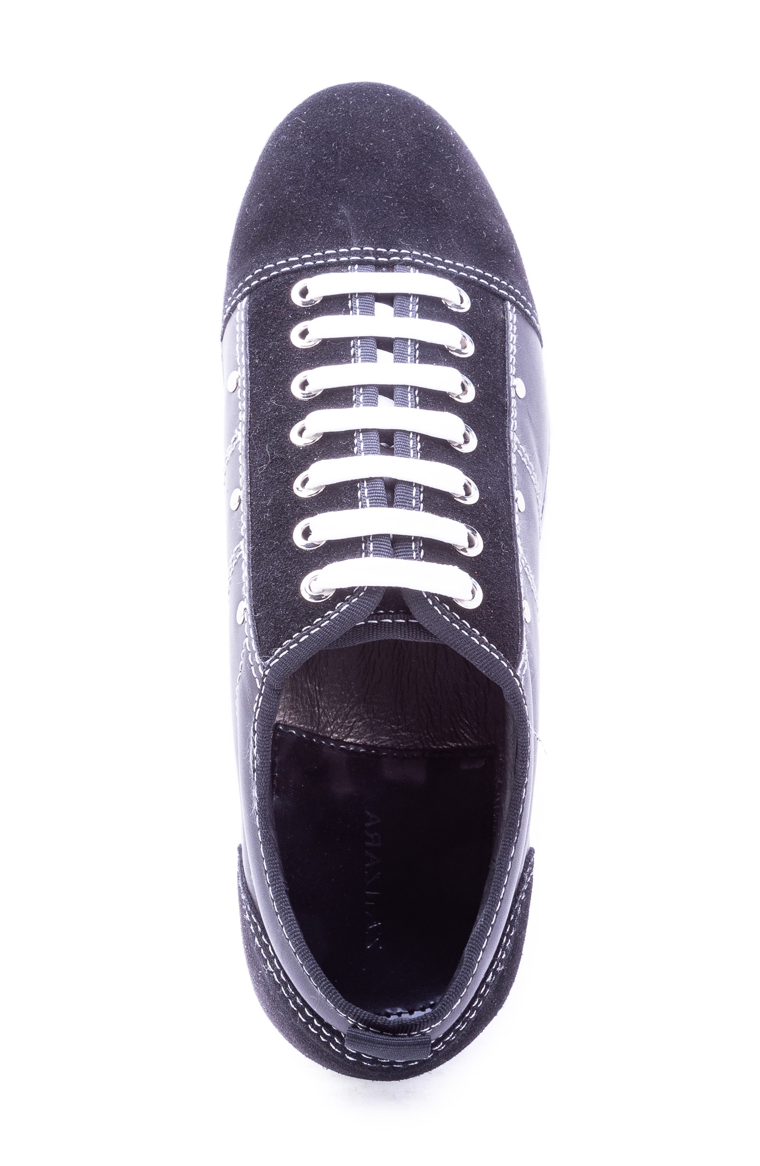 Severn Studded Low Top Sneaker,                             Alternate thumbnail 5, color,                             BLACK SUEDE/ LEATHER