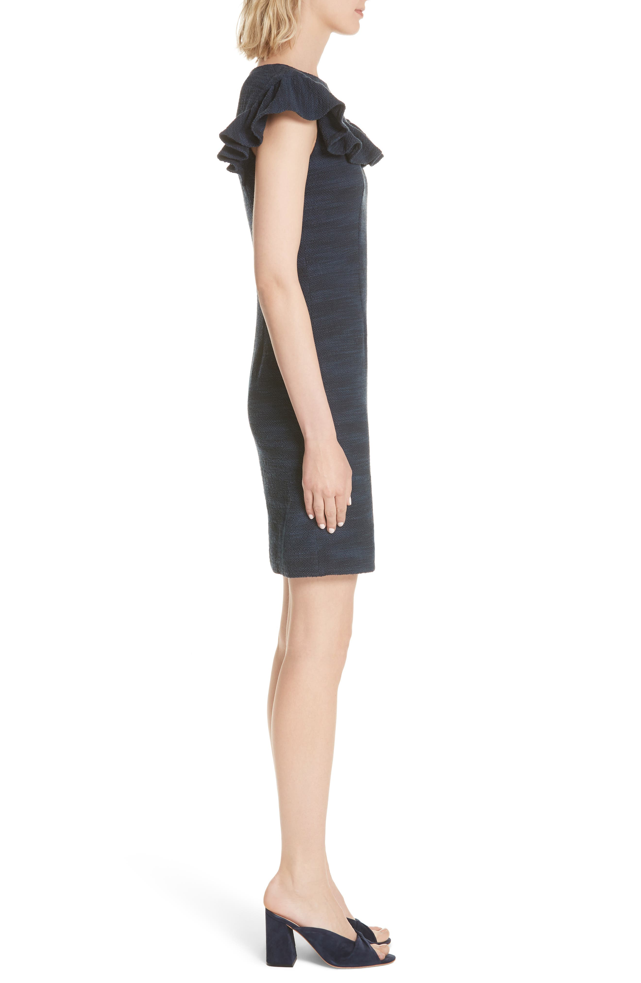 Ruffle Tweed Dress,                             Alternate thumbnail 3, color,                             482
