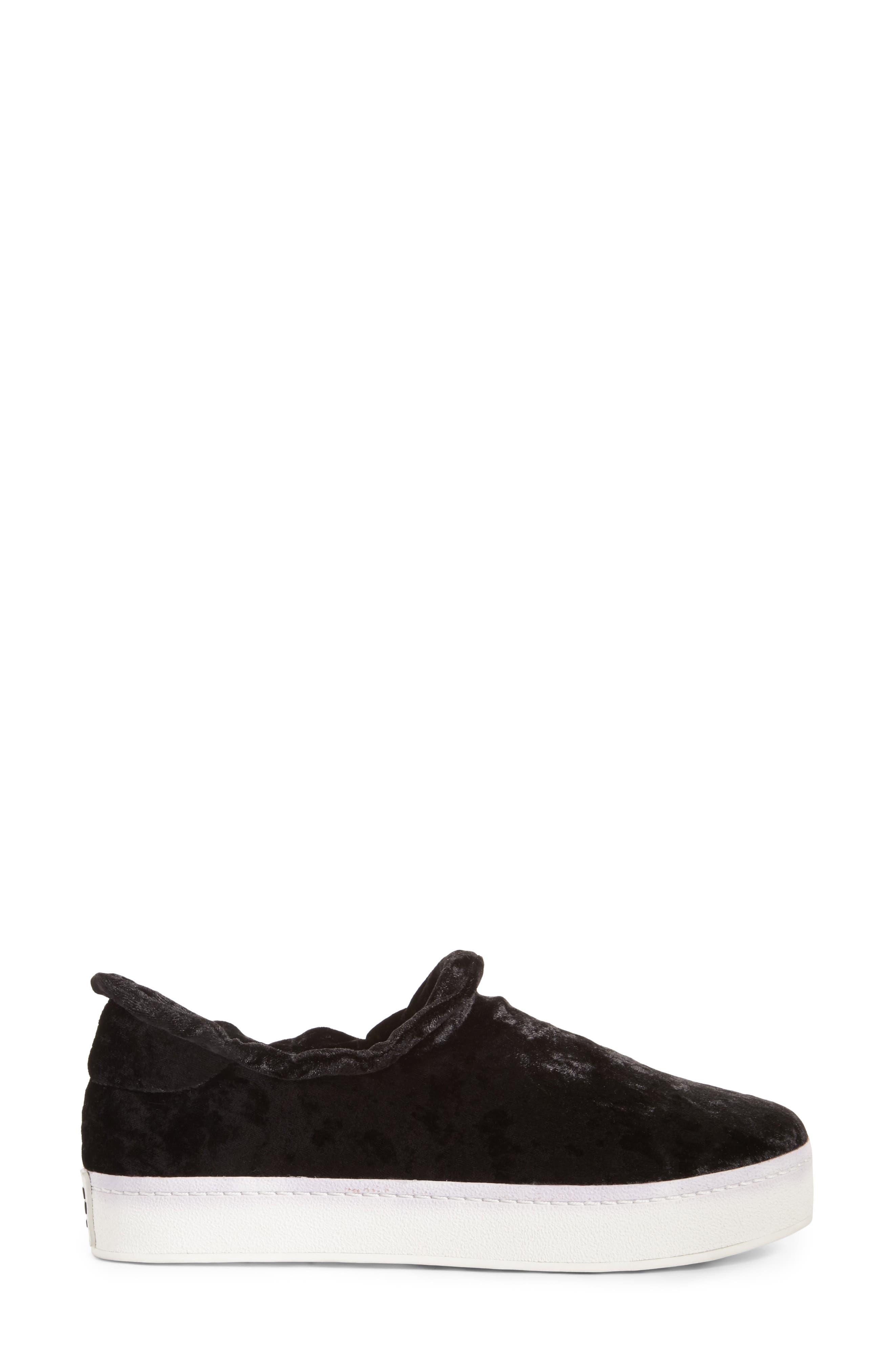 Cici Velvet Ruffle Slip-On Sneaker,                             Alternate thumbnail 3, color,                             001