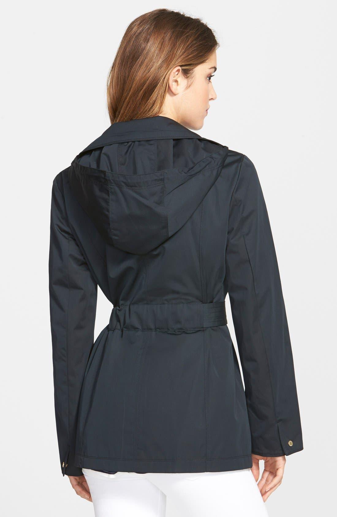 Cotton Blend Short Trench Coat,                             Alternate thumbnail 2, color,                             001