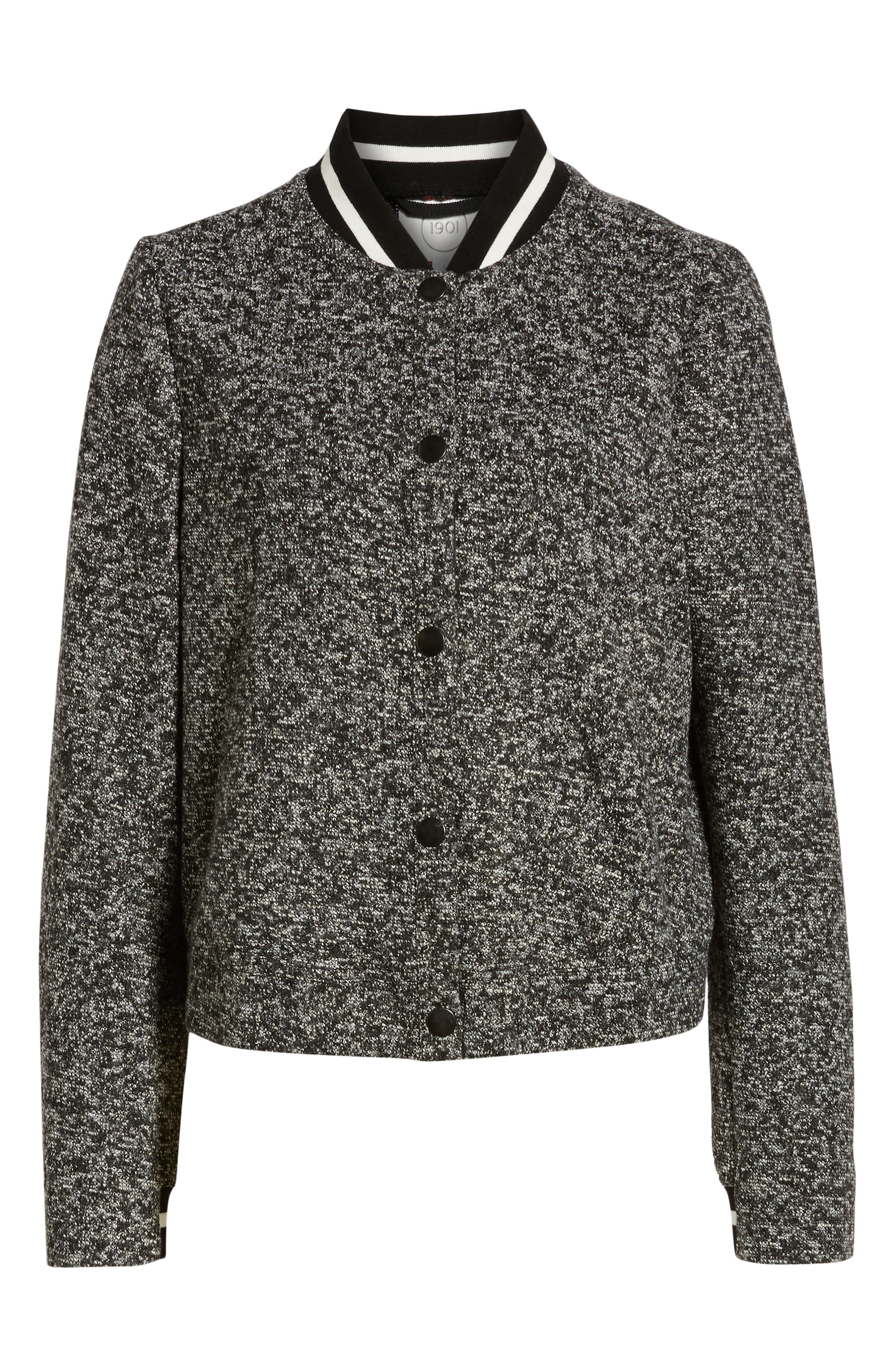 Tweed Bomber Jacket,                             Alternate thumbnail 5, color,                             001