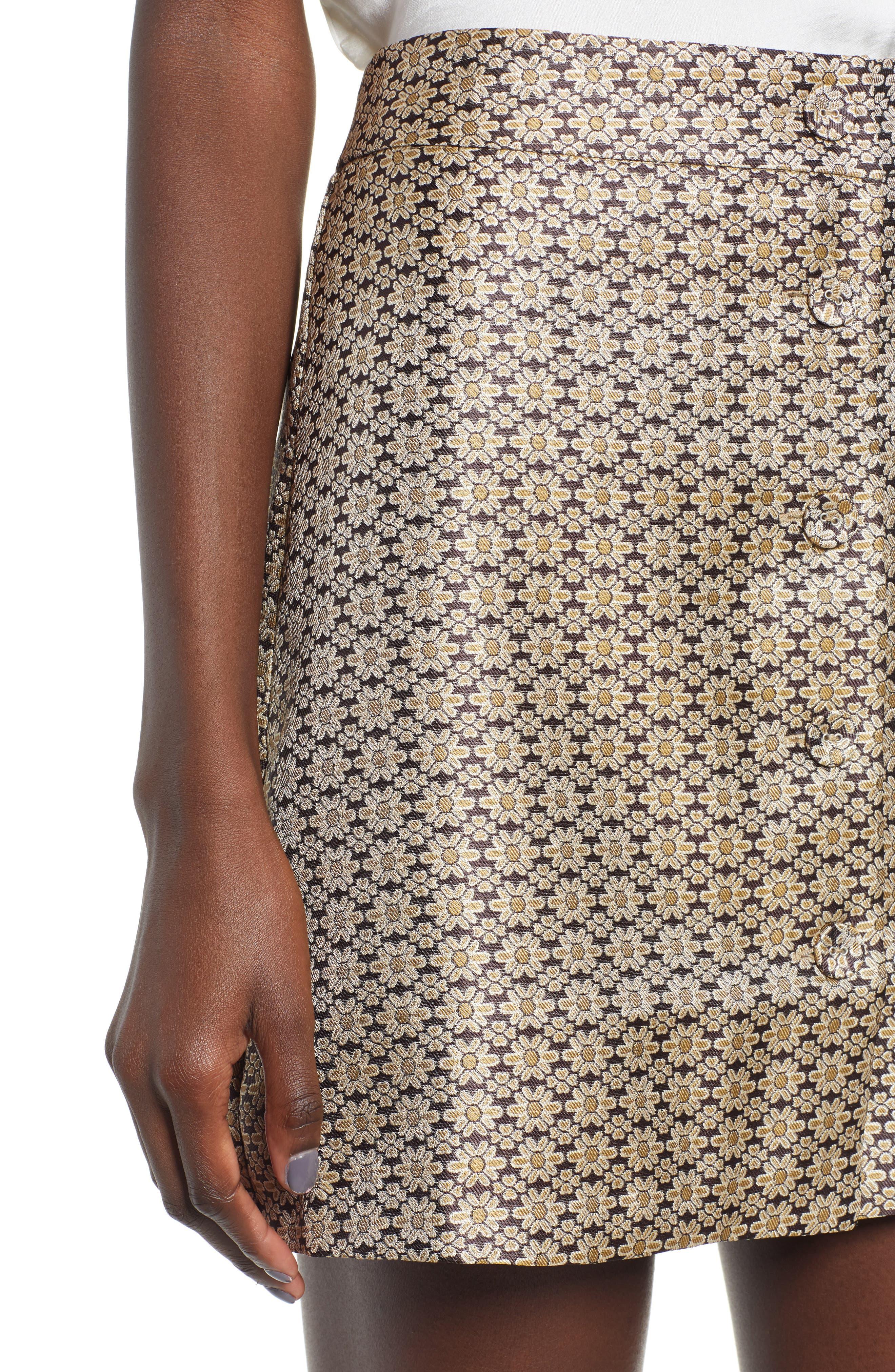 Pelham Button Front Miniskirt,                             Alternate thumbnail 5, color,                             710