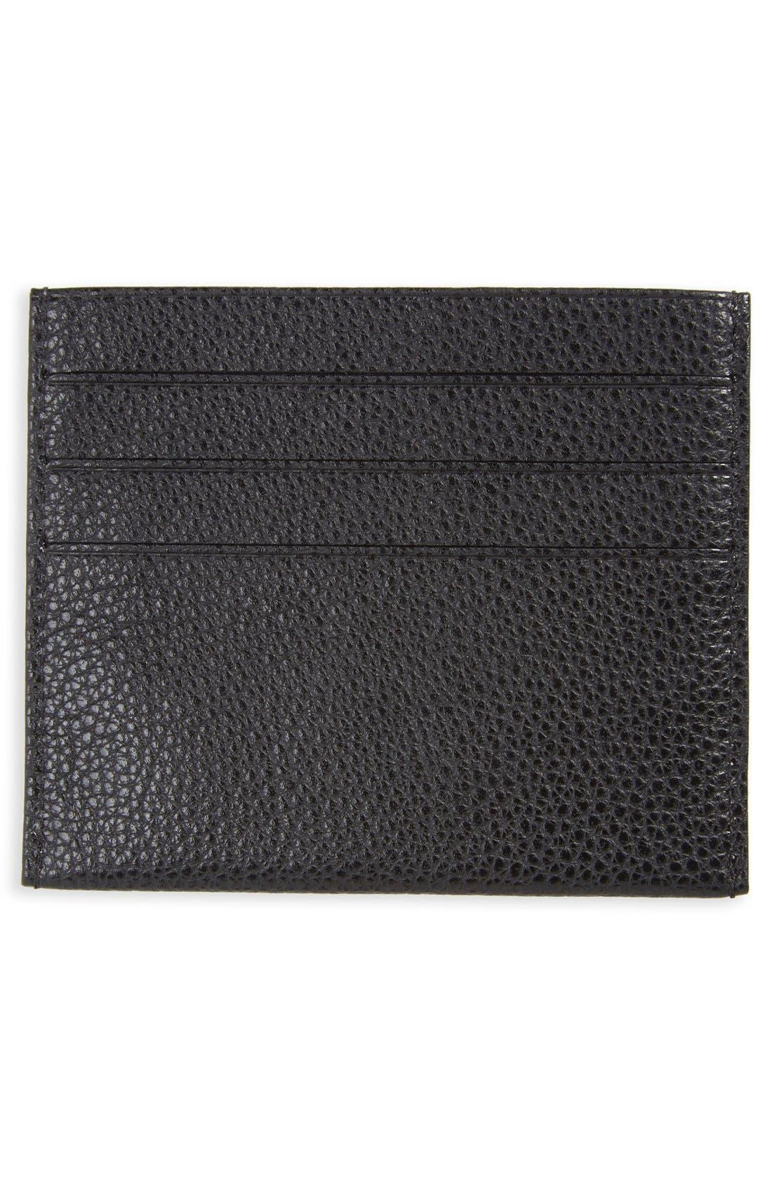 'Le Foulonne' Pebbled Leather Card Holder,                             Alternate thumbnail 2, color,                             BLACK
