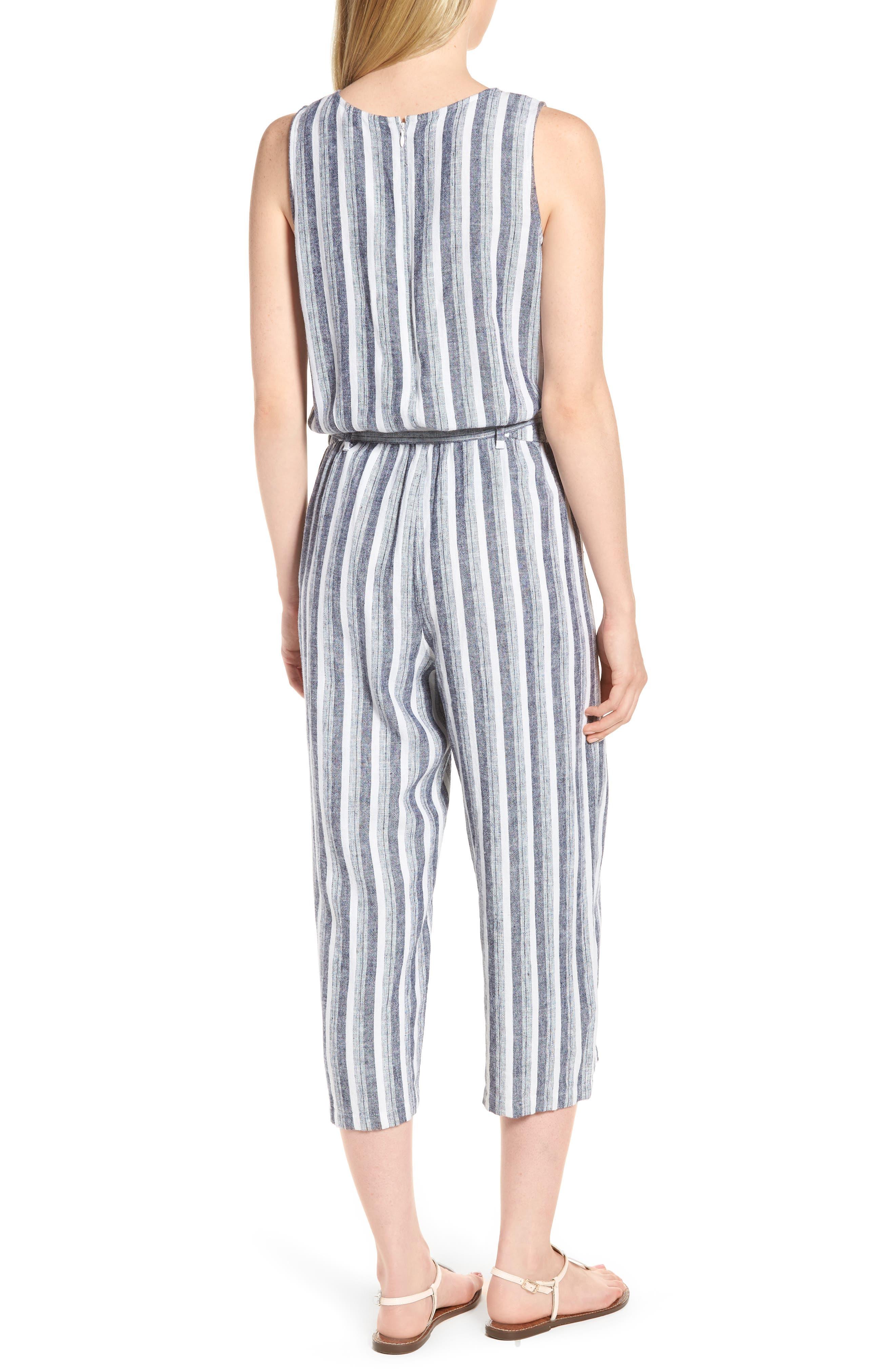 Shore Stripe Linen Blend Jumpsuit,                             Alternate thumbnail 2, color,                             145