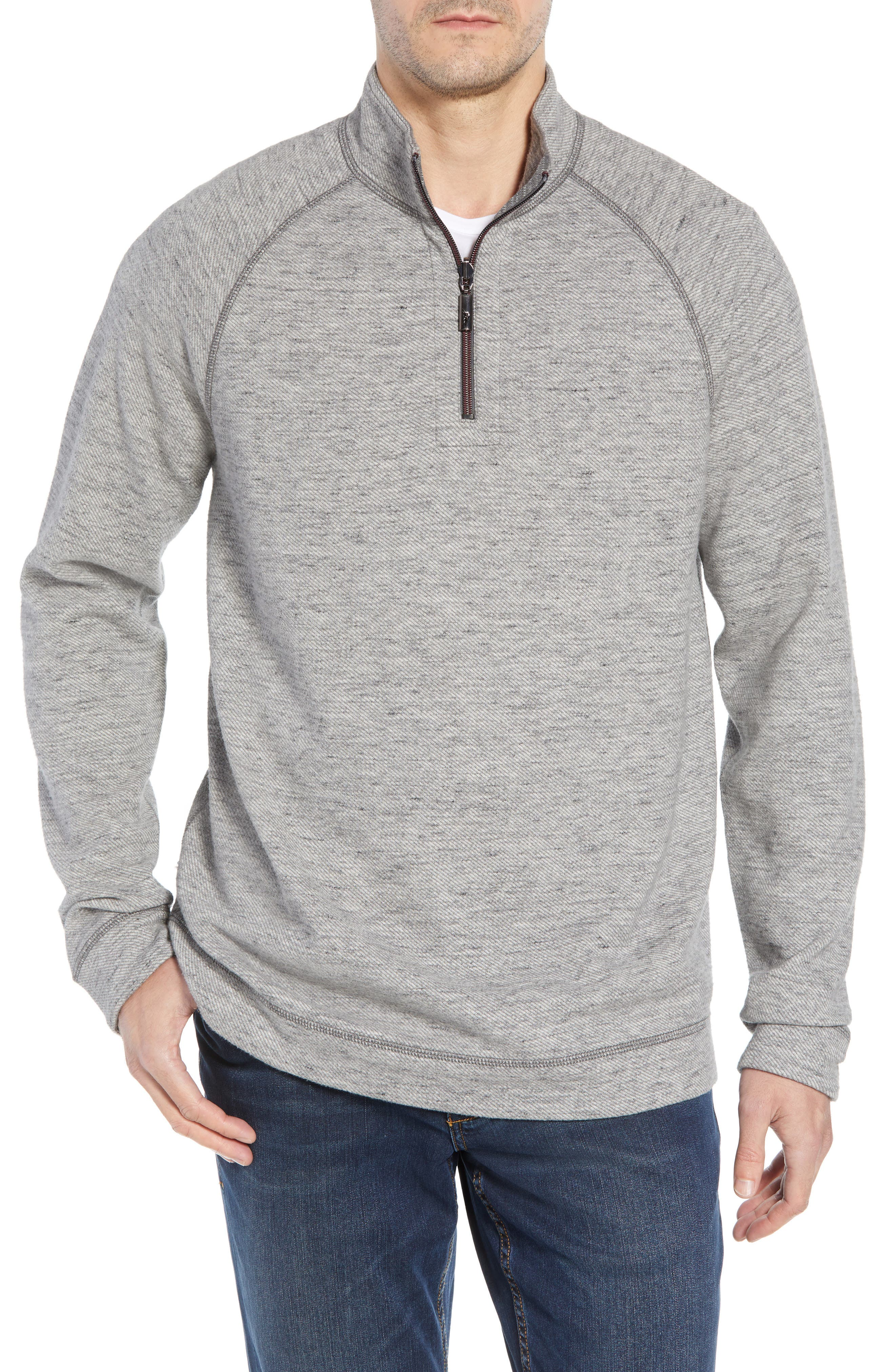 On the Doubles Mock Neck Quarter Zip Pullover,                         Main,                         color, STEEL WOOL HEATHER