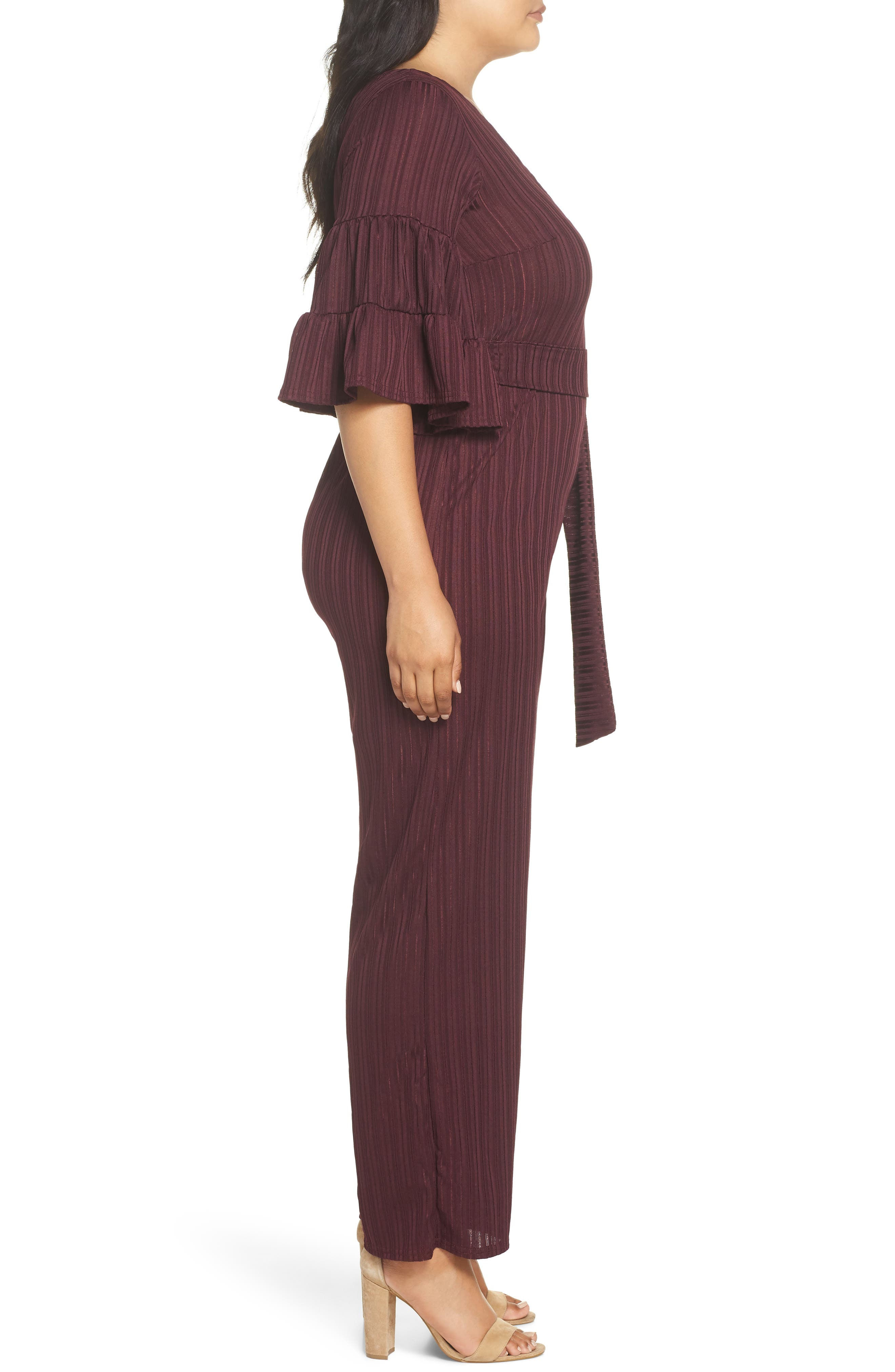 Ruffle Sleeve Jumpsuit,                             Alternate thumbnail 3, color,                             500