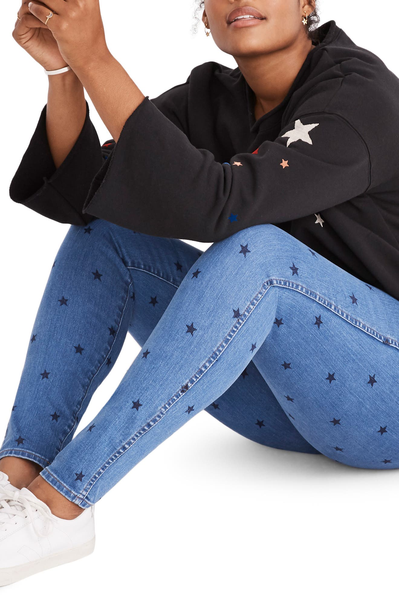 Starry Night Sweatshirt,                             Alternate thumbnail 7, color,                             CLASSIC BLACK