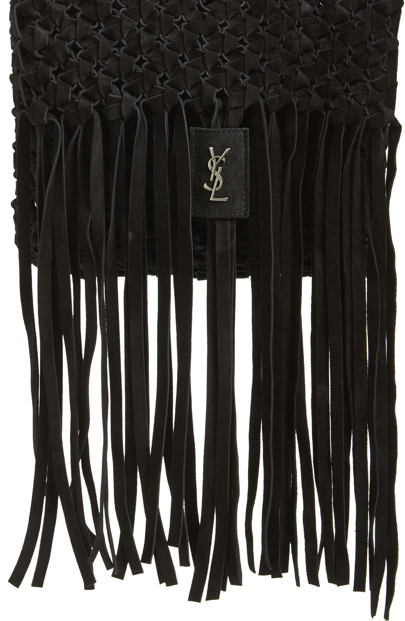 Fringed Leather Clutch,                         Main,                         color, NERO