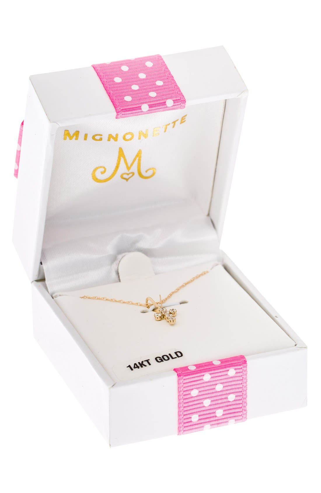 MIGNONETTE,                             14k Gold & Cubic Zirconia Cross Necklace,                             Alternate thumbnail 3, color,                             710