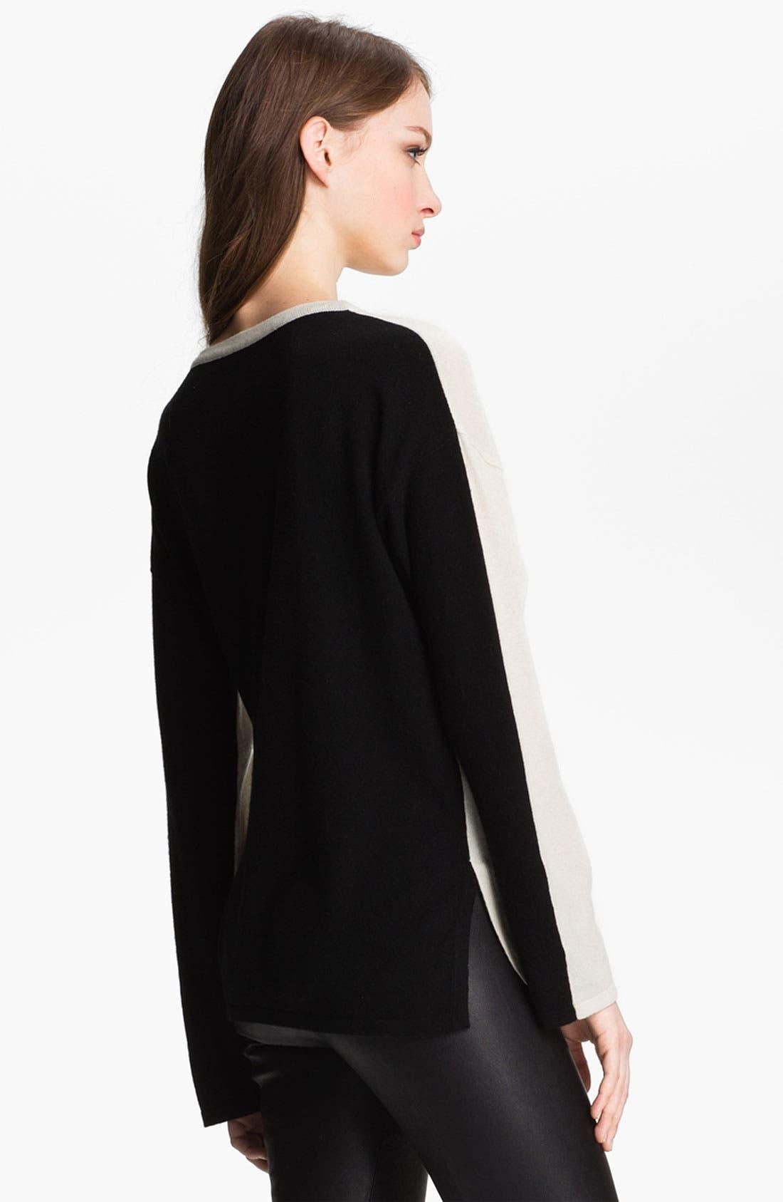 Colorblock Cashmere Sweater,                             Alternate thumbnail 4, color,                             100