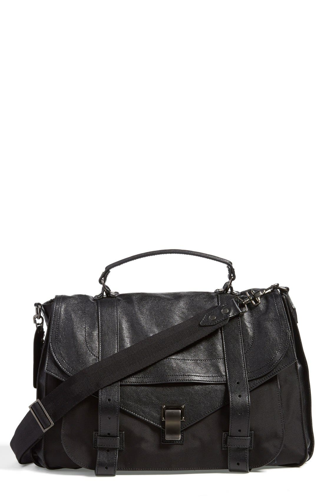 PROENZA SCHOULER 'Extra Large PS1' Nylon & Leather Messenger Bag, Main, color, 001
