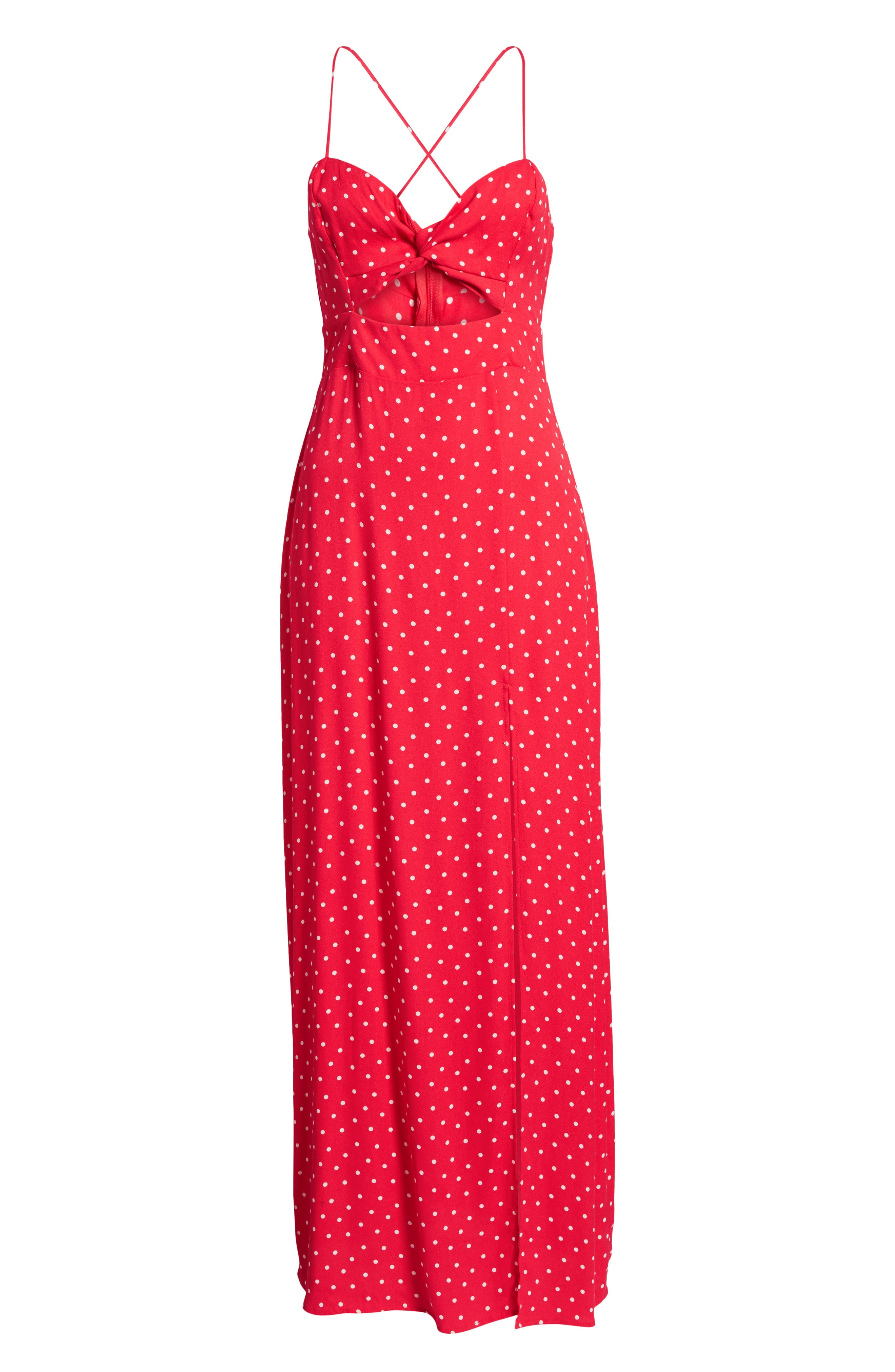 Marie Twisted Knot Front Maxi Dress,                             Alternate thumbnail 8, color,                             RED POLKA DOT