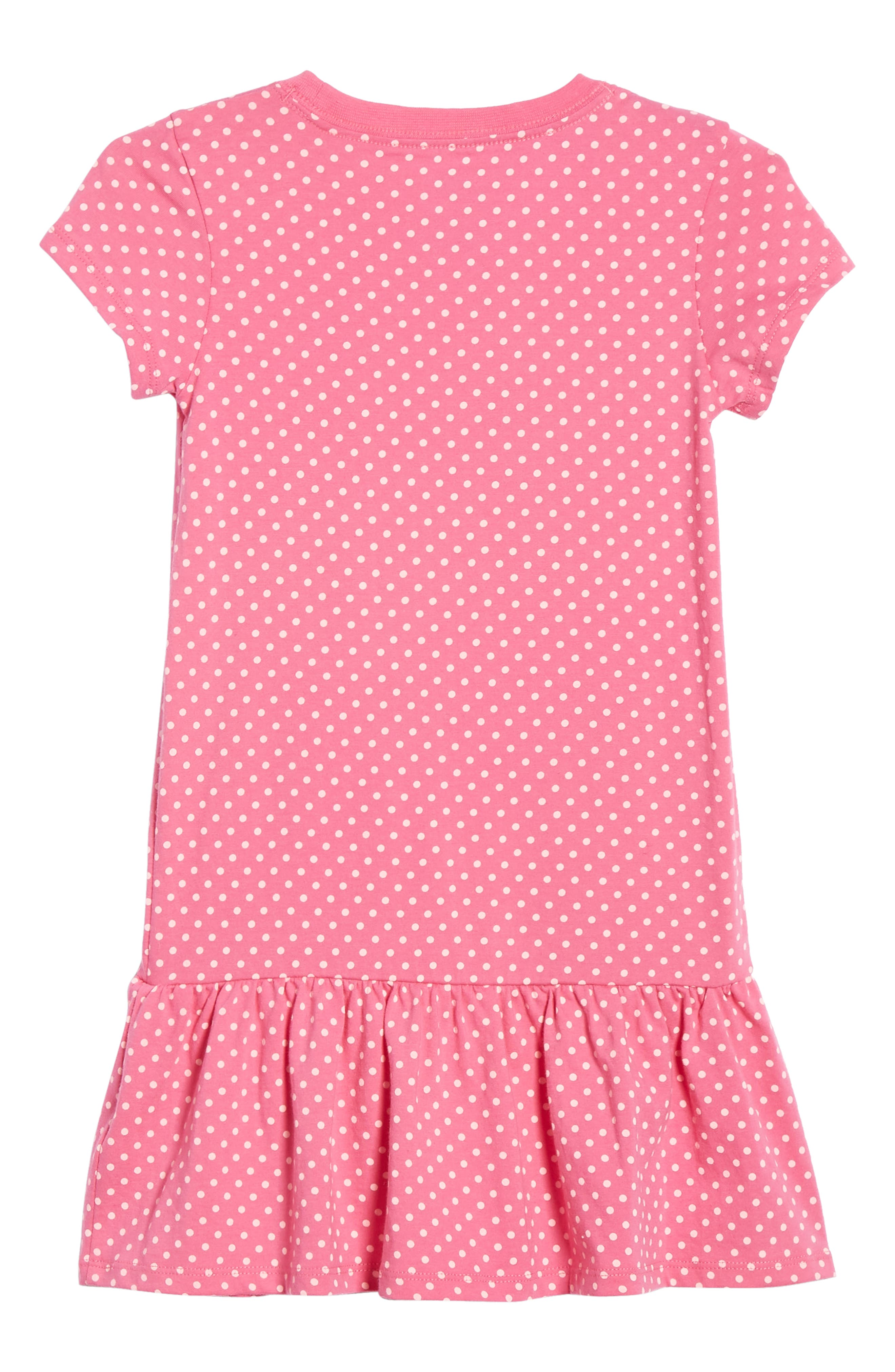 NIKE,                             Polka Dot Drop Waist Dress,                             Alternate thumbnail 2, color,                             LASER FUSCHIA