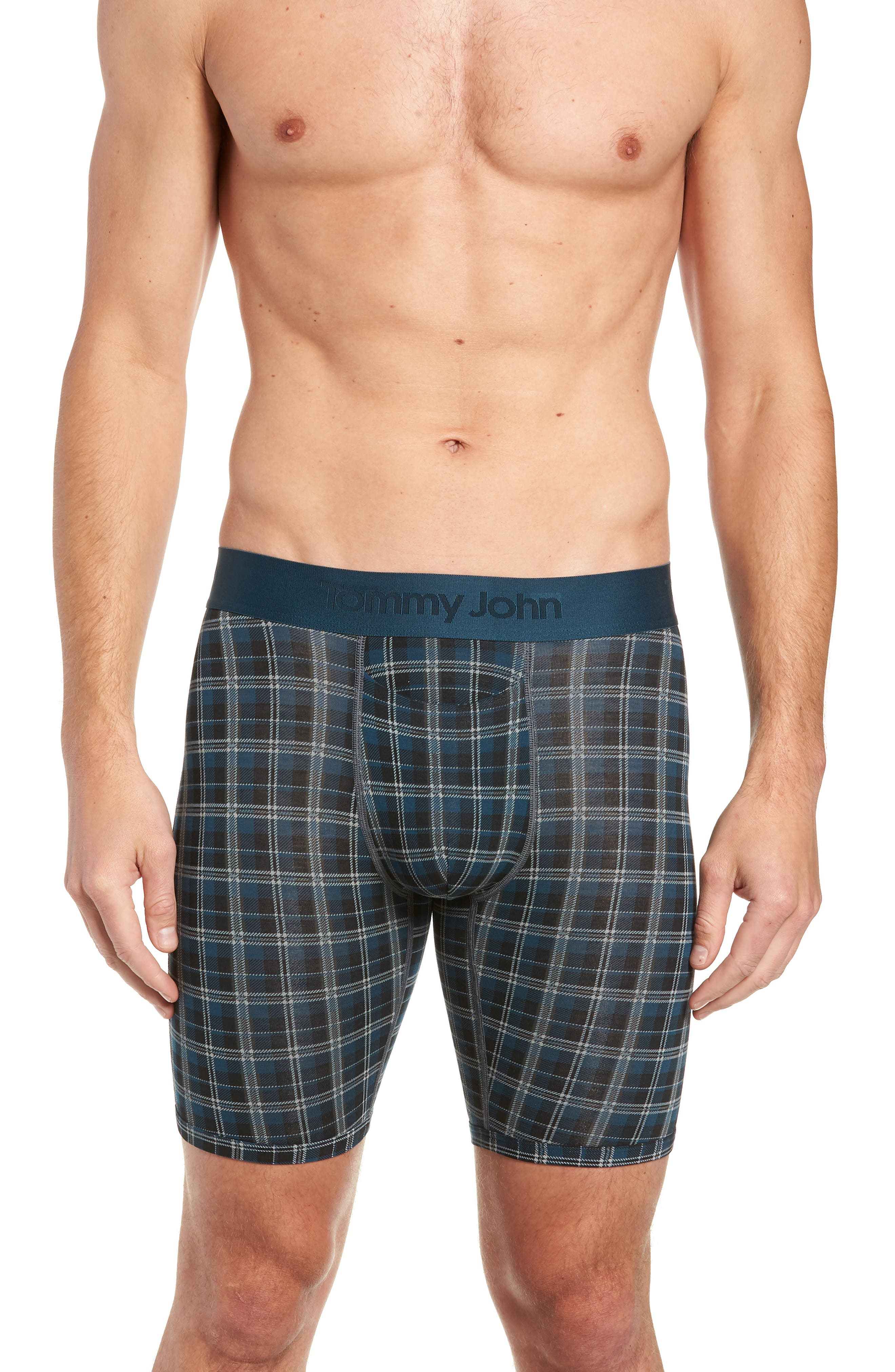 Second Skin Plaid Boxer Briefs,                         Main,                         color, REFLECTING POND