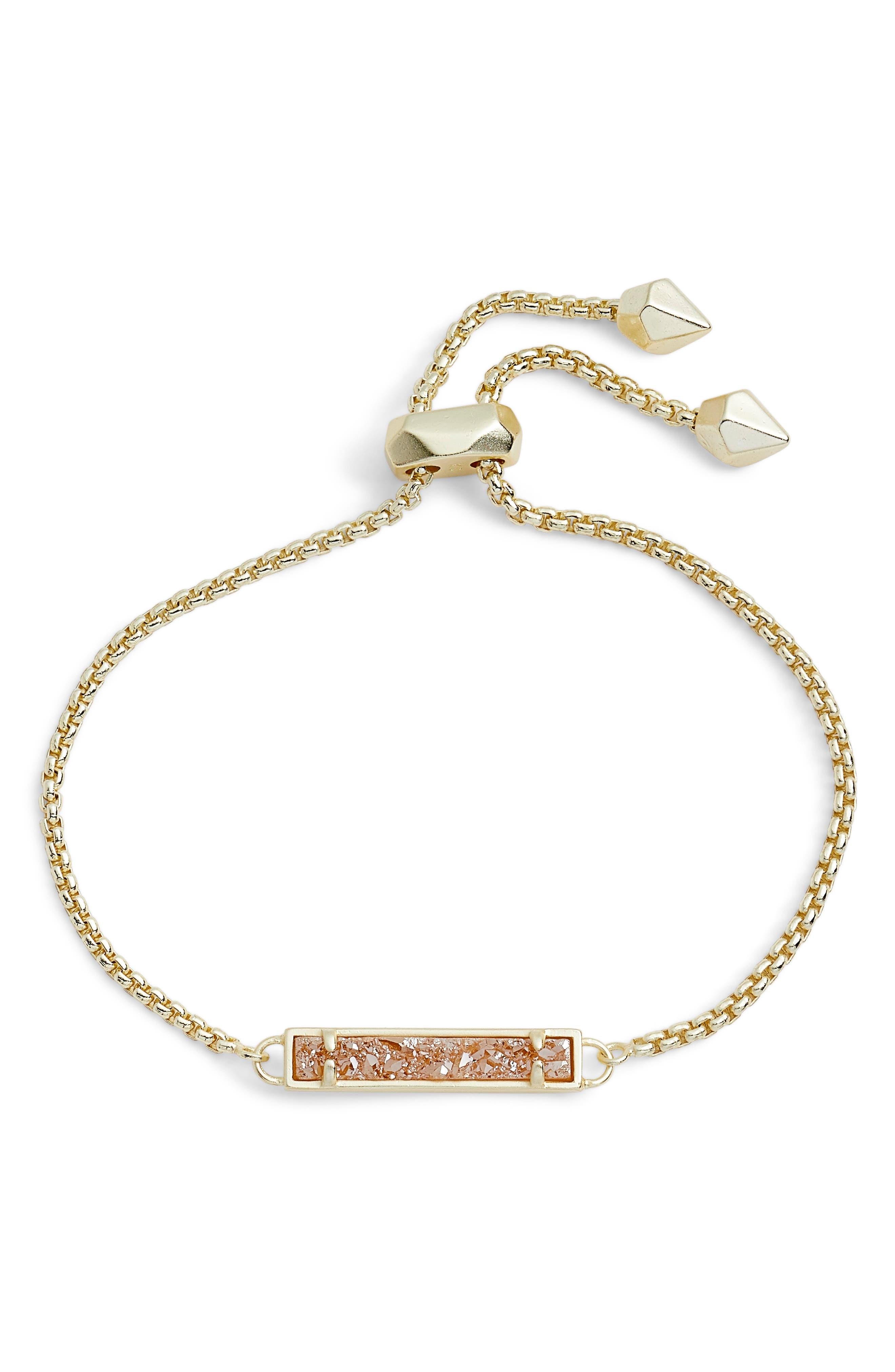 Stan Adjustable Bracelet in Sand Drusy/ Gold