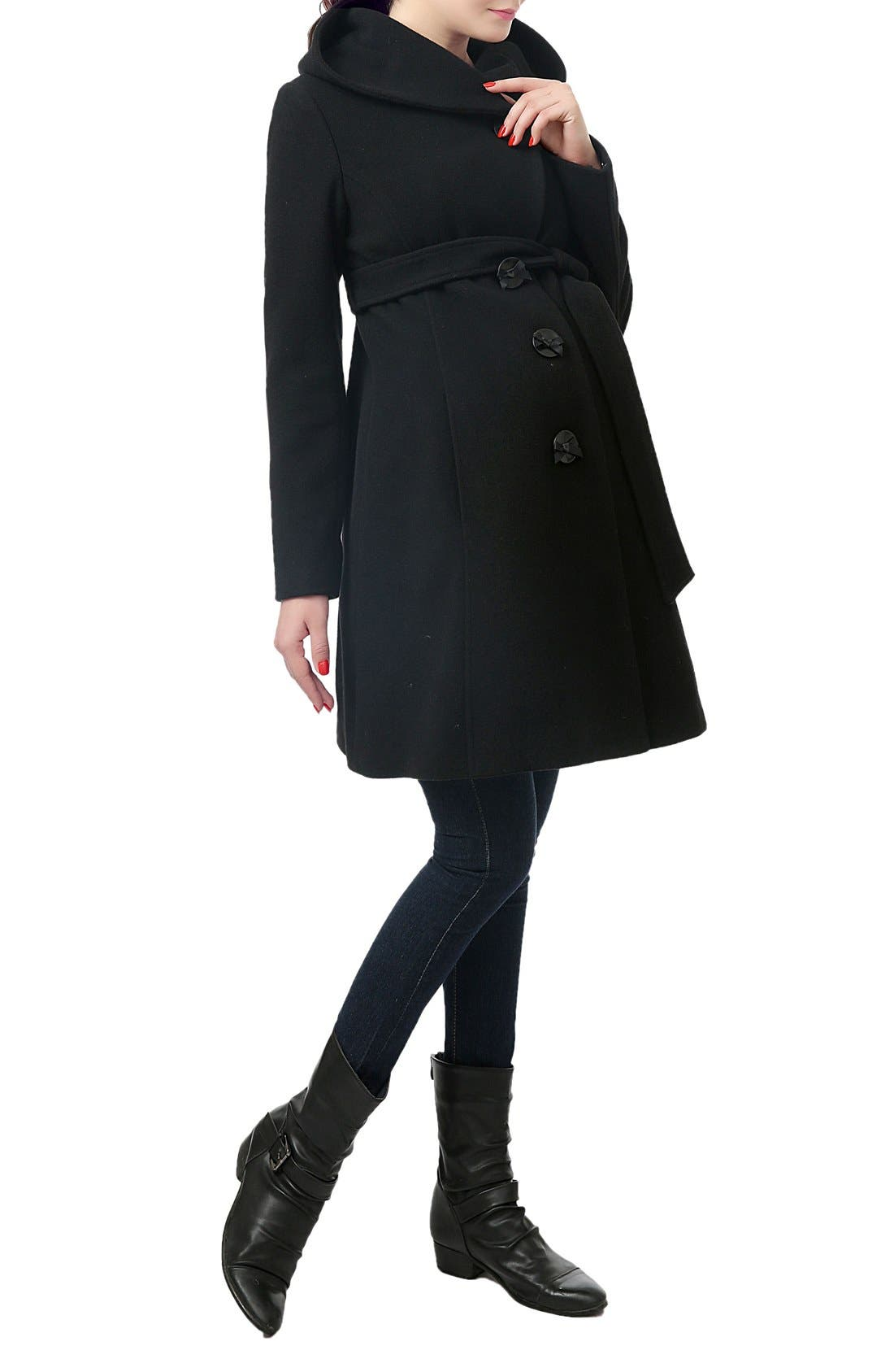 KIMI AND KAI,                             'Lora' Wool Blend Maternity Coat,                             Alternate thumbnail 4, color,                             BLACK