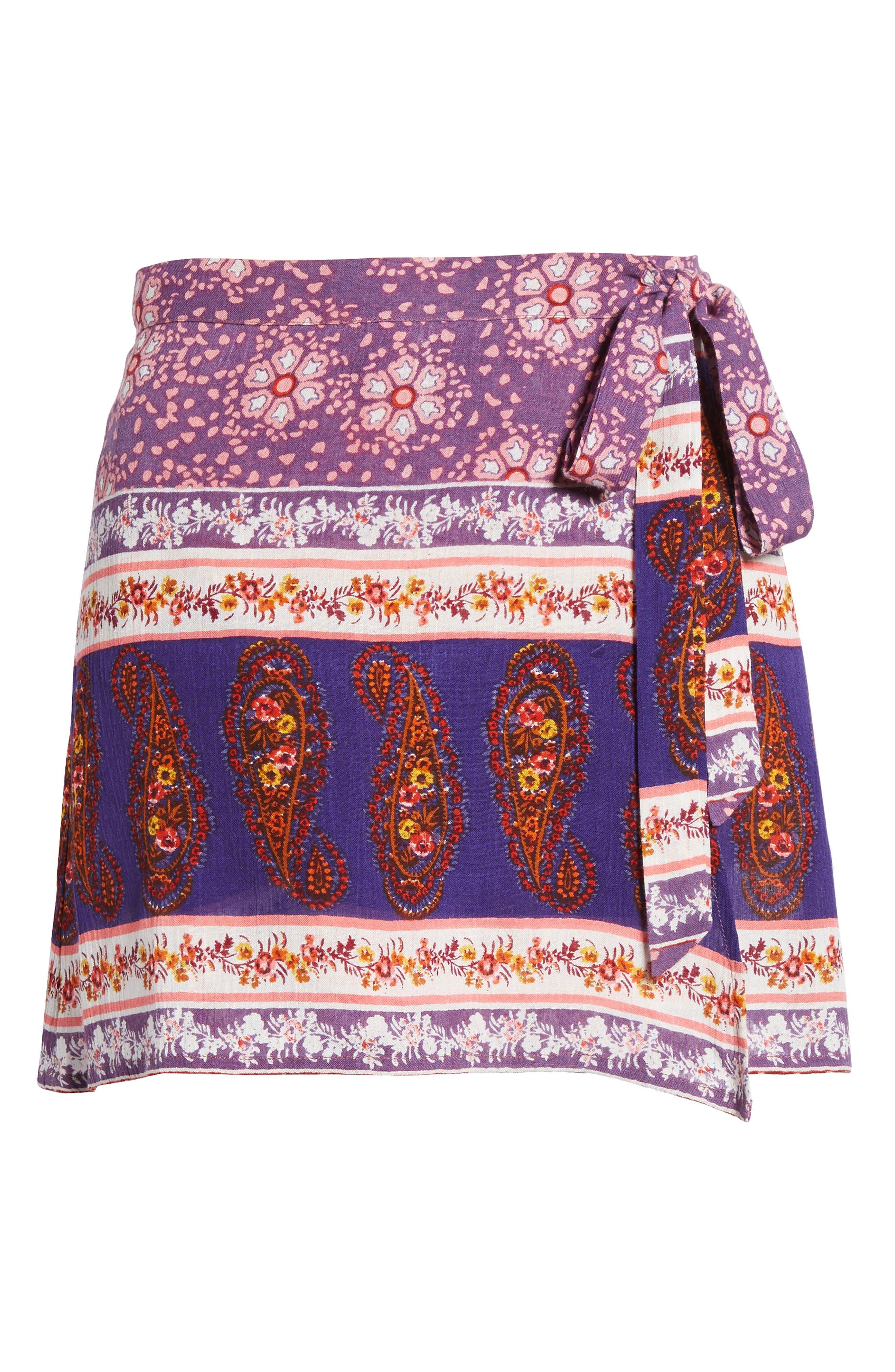 Dana Floral Wrap Skirt,                             Alternate thumbnail 6, color,                             500