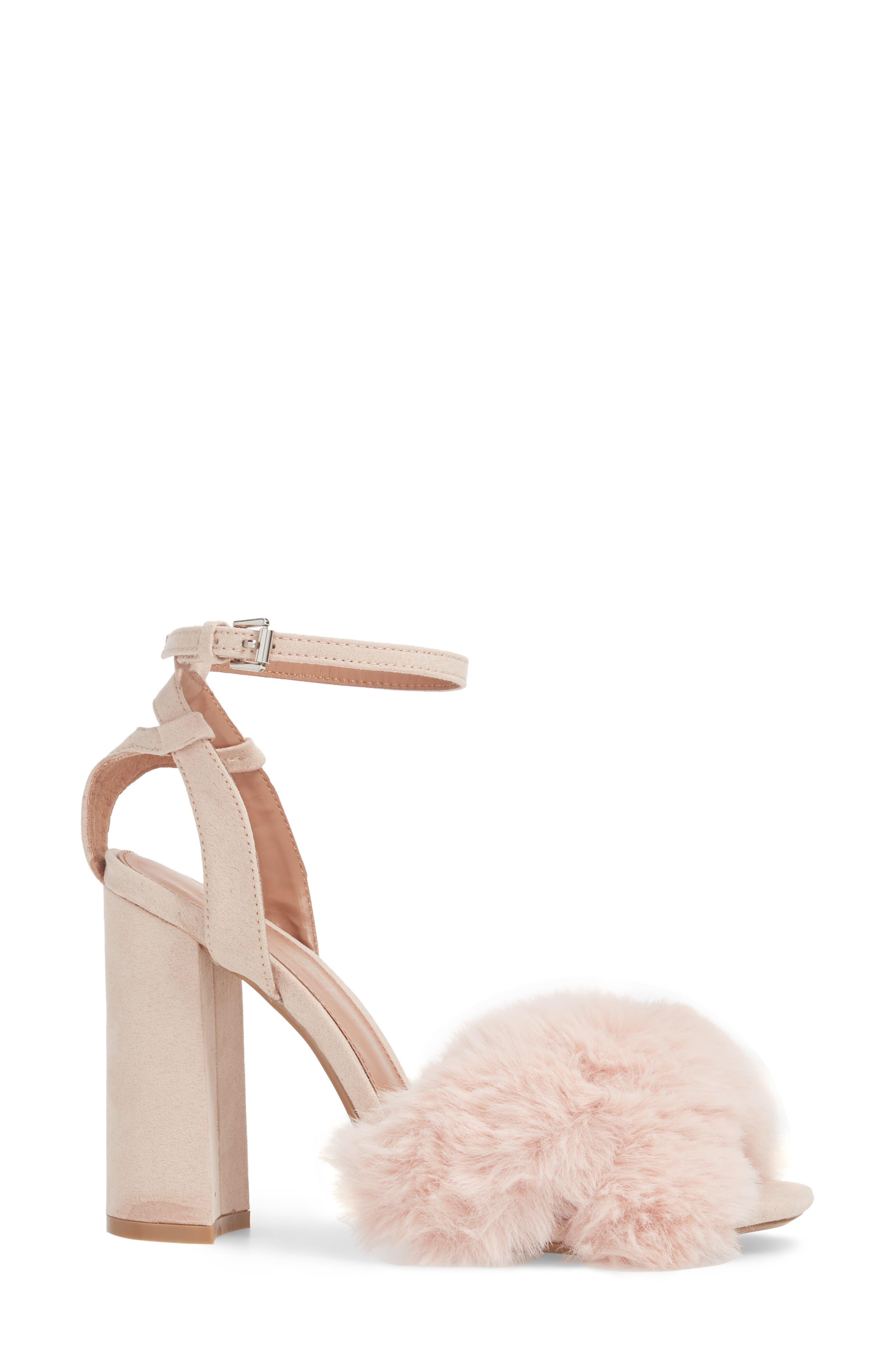 Sassy Faux Fur Sandal,                             Alternate thumbnail 9, color,