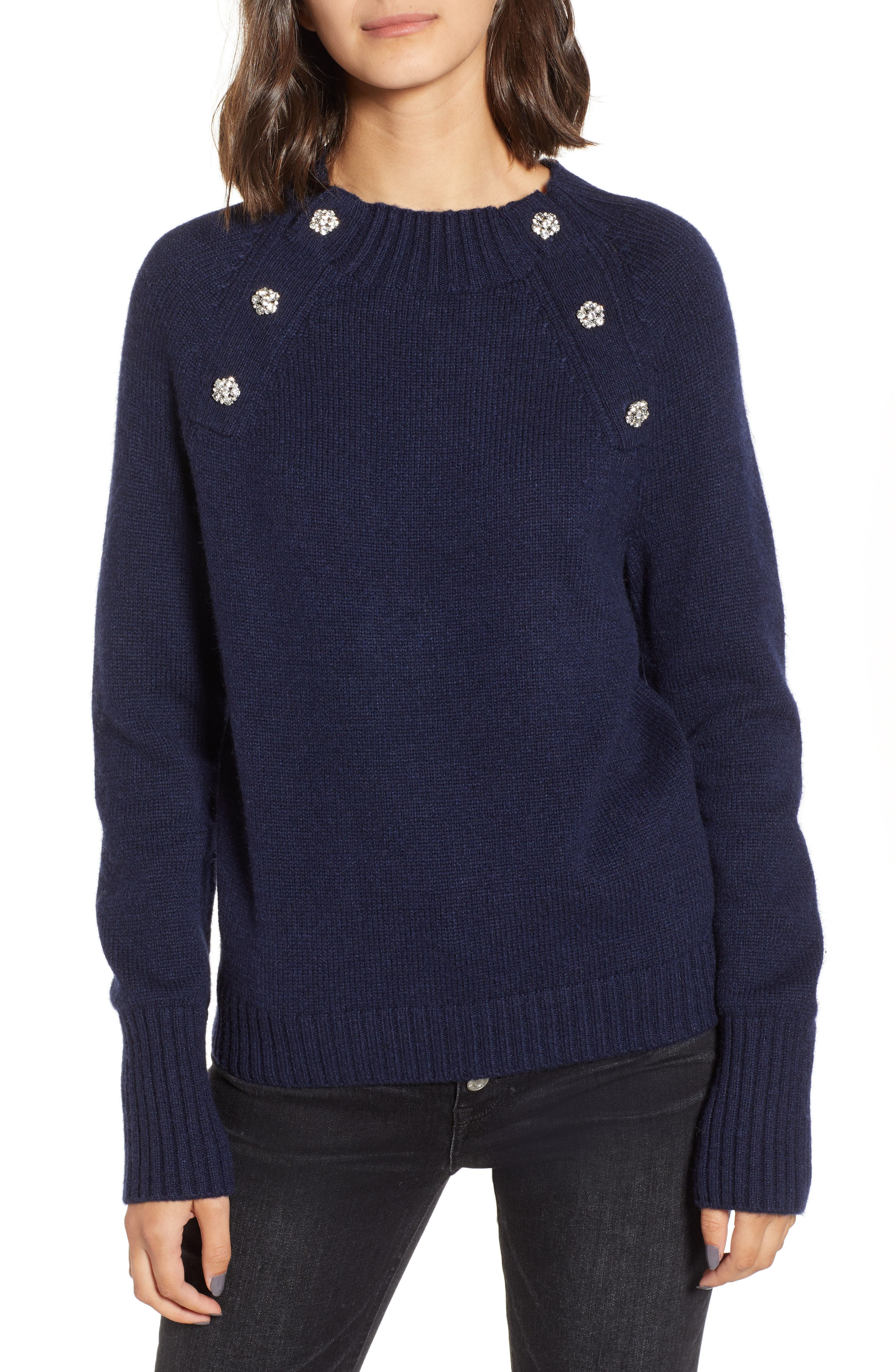 Sweater with Jeweled Buttons,                         Main,                         color, NAVY