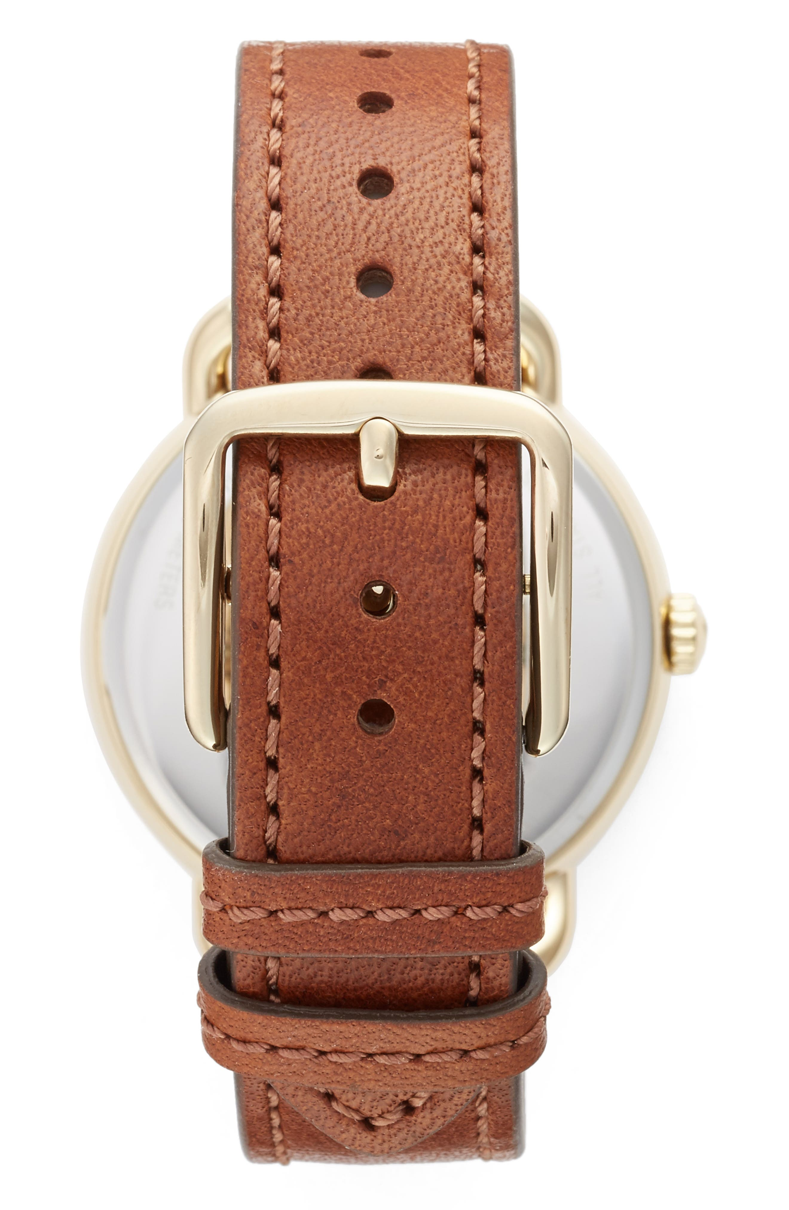 Delancey Leather Strap Watch, 36mm,                             Alternate thumbnail 2, color,                             BROWN/ WHITE/ GOLD