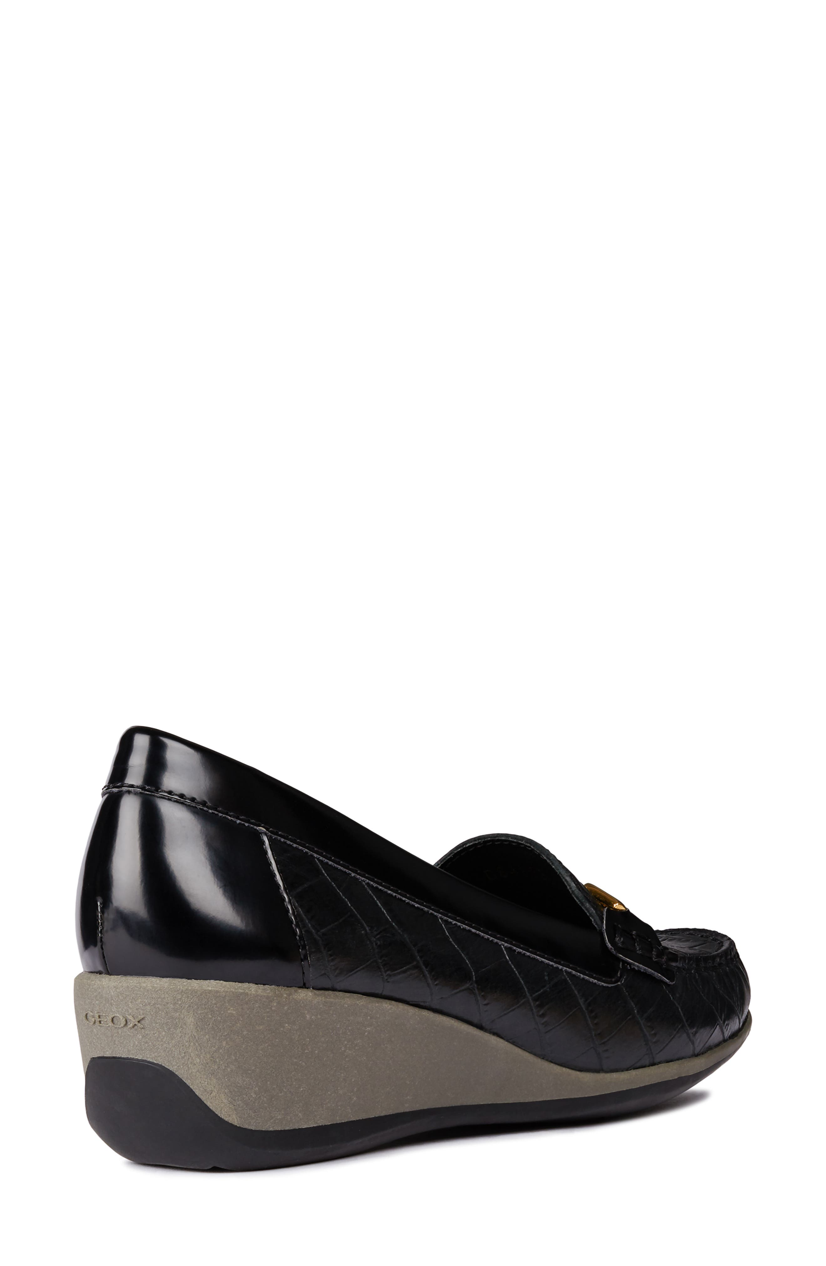 Arethea Loafer Wedge,                             Alternate thumbnail 6, color,                             BLACK LEATHER