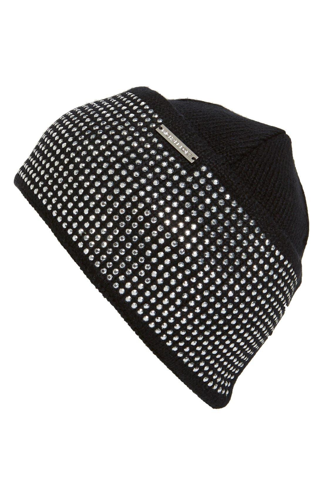 Studded Cuff Knit Beanie,                             Main thumbnail 1, color,                             001