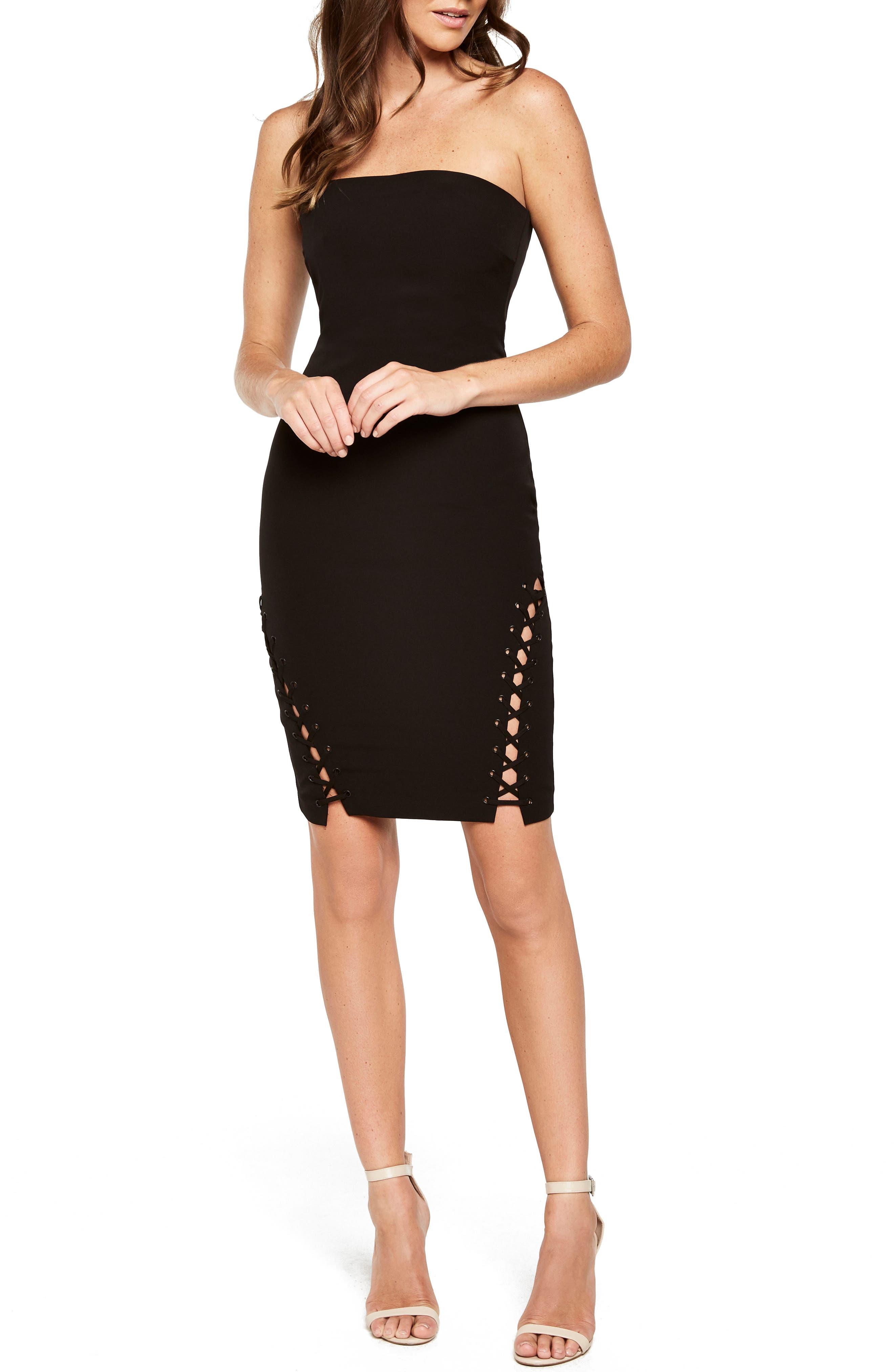 Bardot Luca Lace-Up Cocktail Dress, Black
