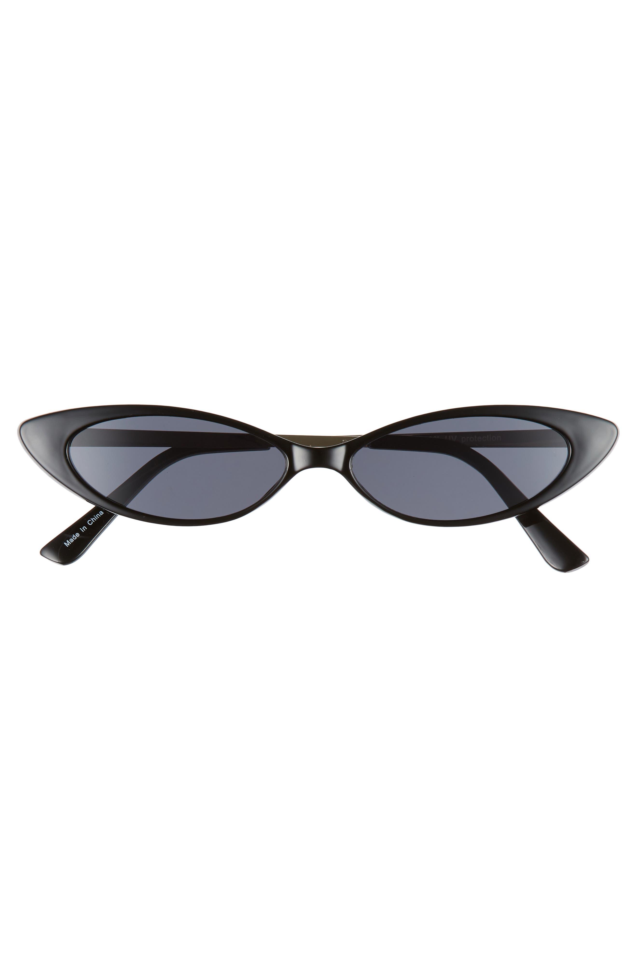 Metal & Plastic Mini Cat Eye Sunglasses,                             Alternate thumbnail 3, color,                             BLACK/ GOLD