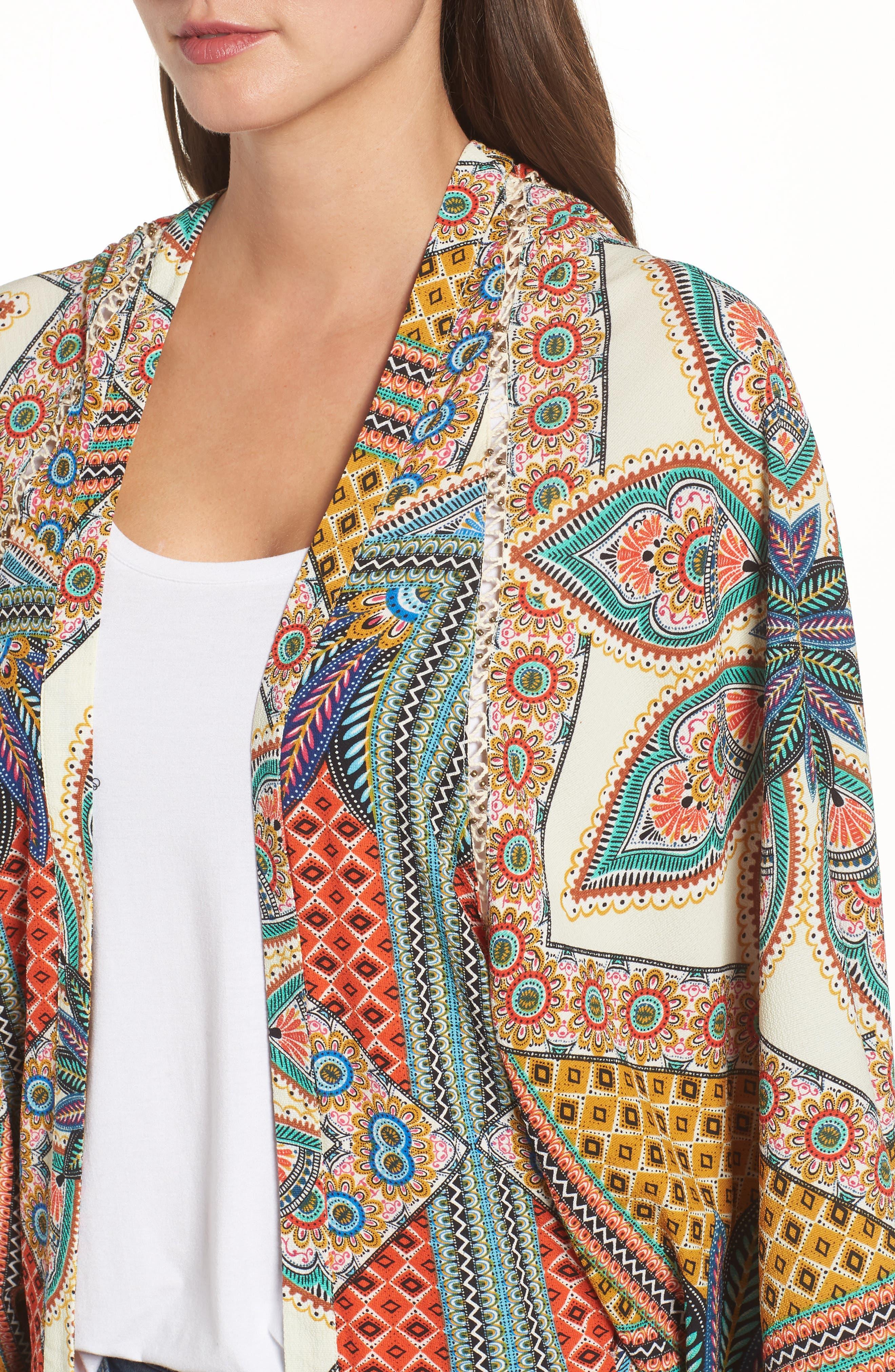 Scarf Print Kimono Jacket,                             Alternate thumbnail 4, color,                             MULTI