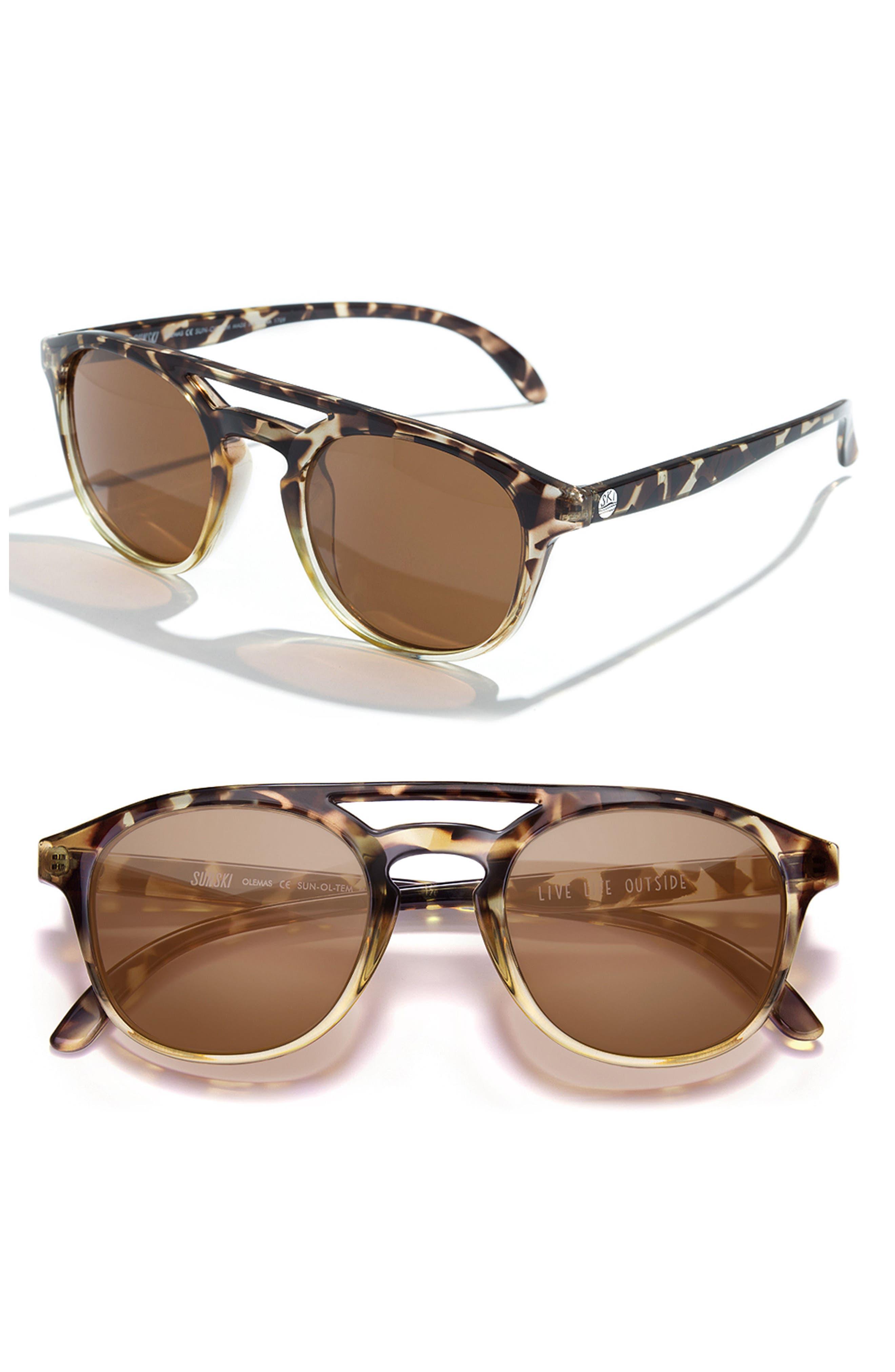Olema 53mm Polarized Sunglasses,                         Main,                         color, TORTOISE AMBER