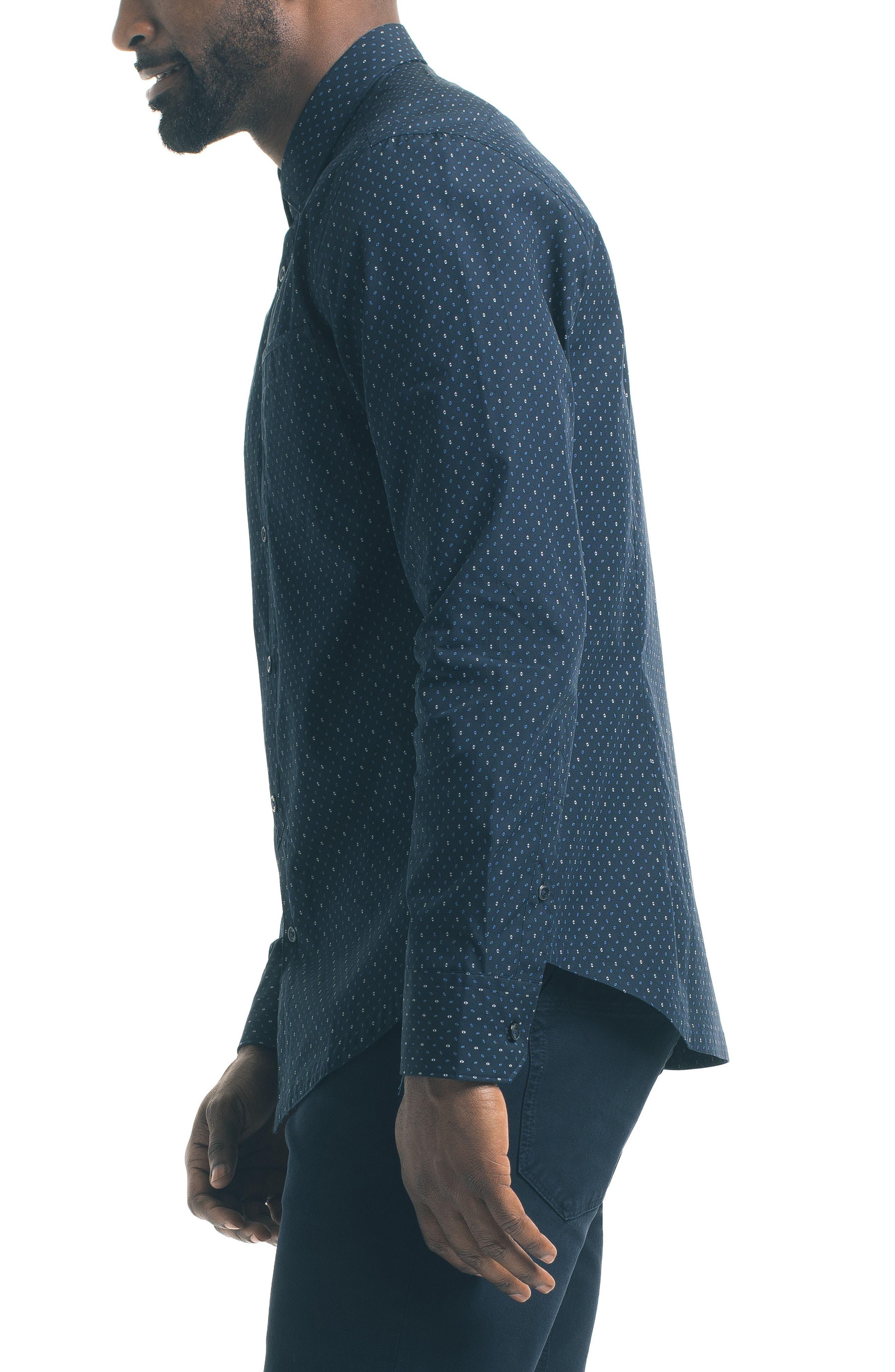 Slim Fit Diamond Print Sport Shirt,                             Alternate thumbnail 3, color,