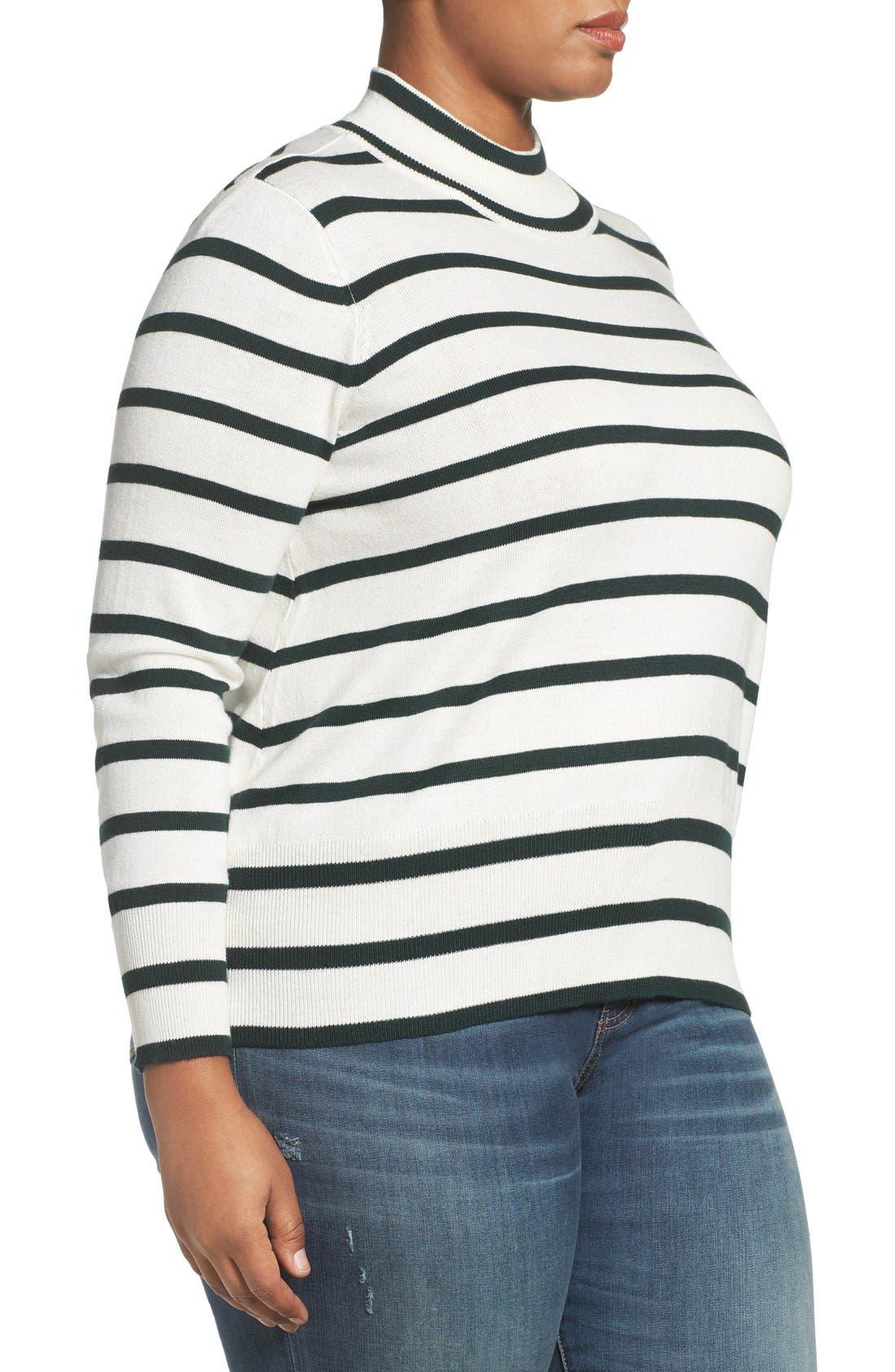 Stripe Mock Neck Sweater,                             Alternate thumbnail 3, color,                             317