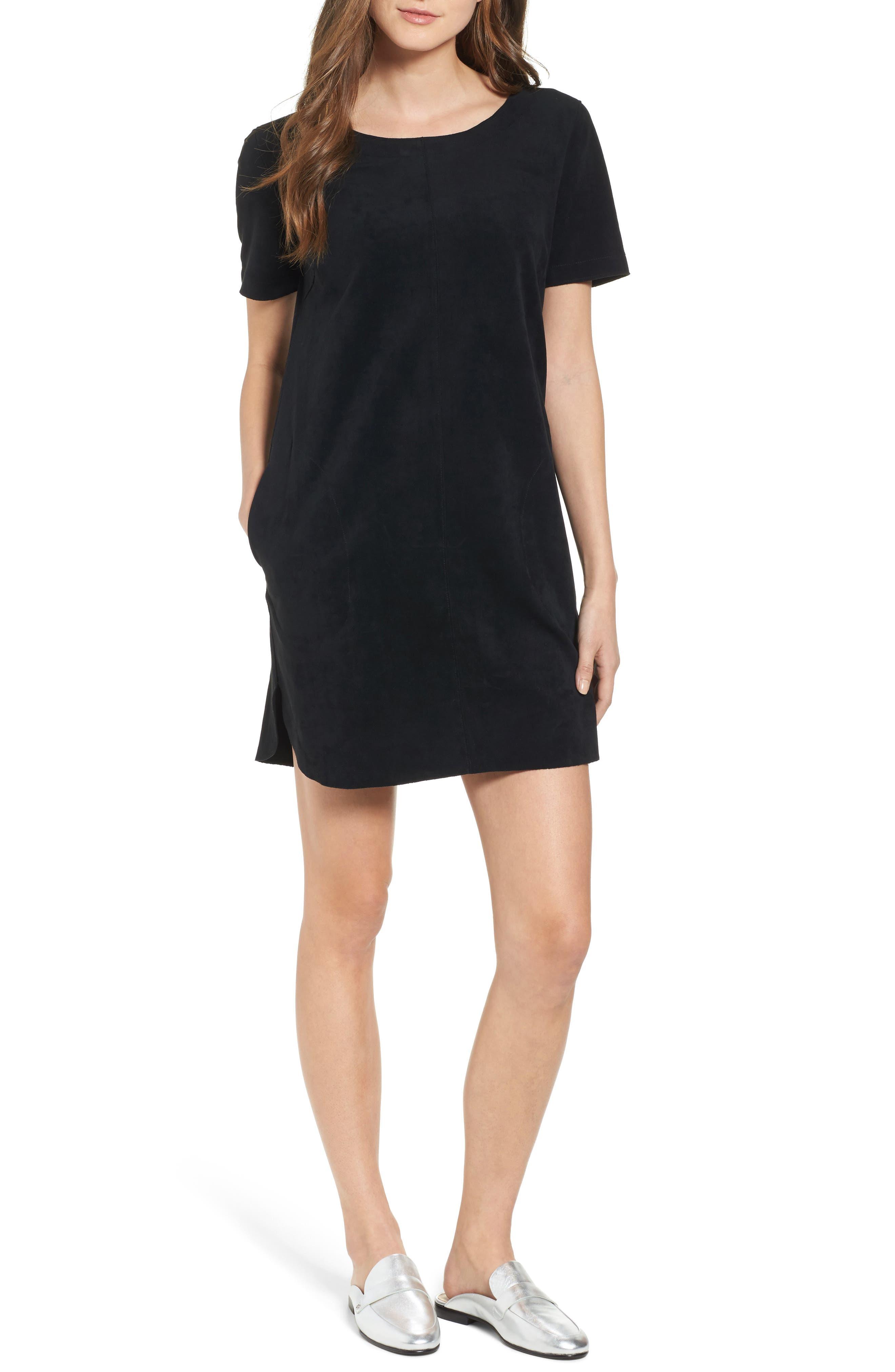 VELVET BY GRAHAM & SPENCER Faux Suede Dress, Main, color, 001