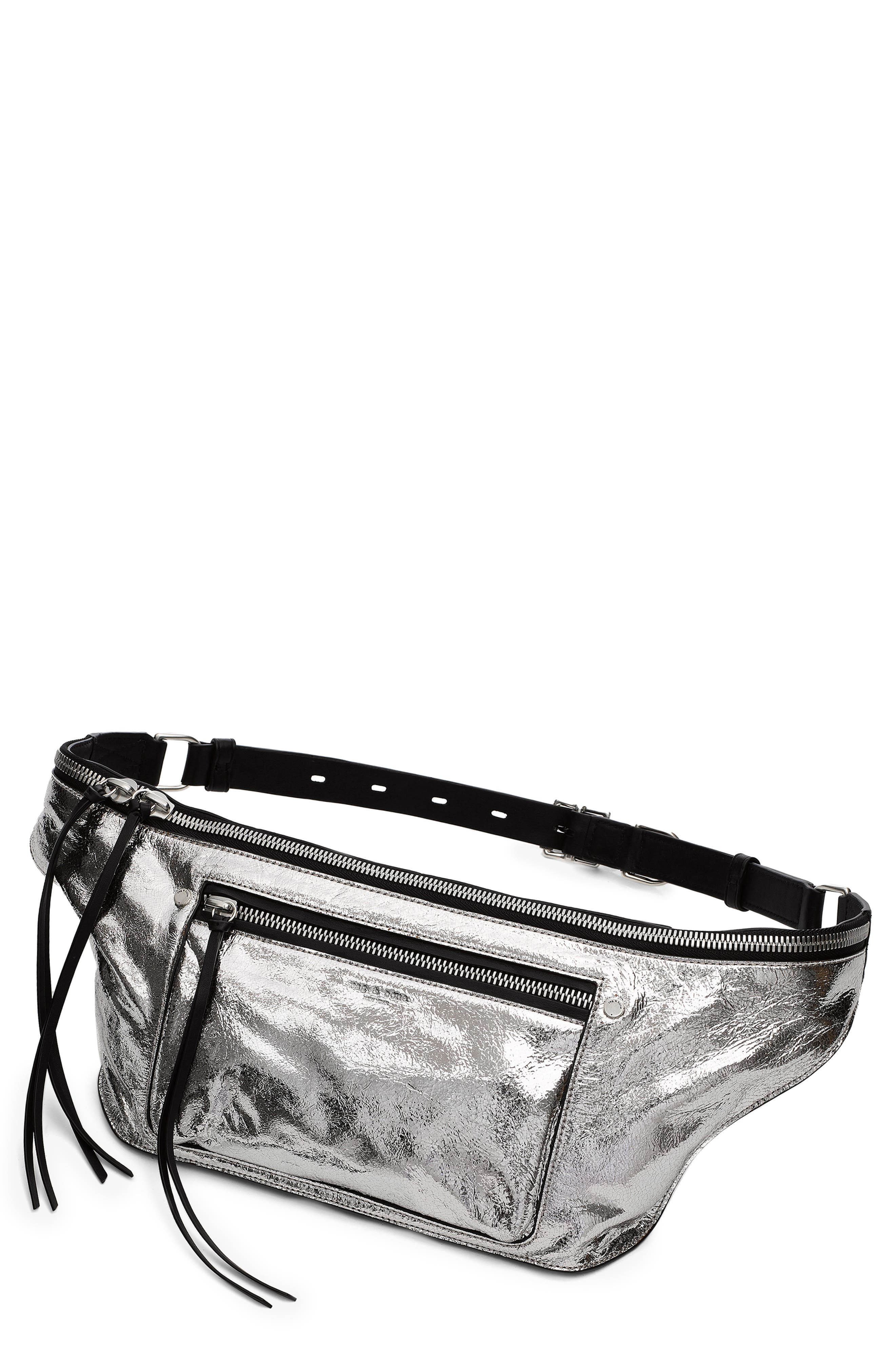 Large Elliot Metallic Leather Fanny Pack, Main, color, SILVER CRACKLE