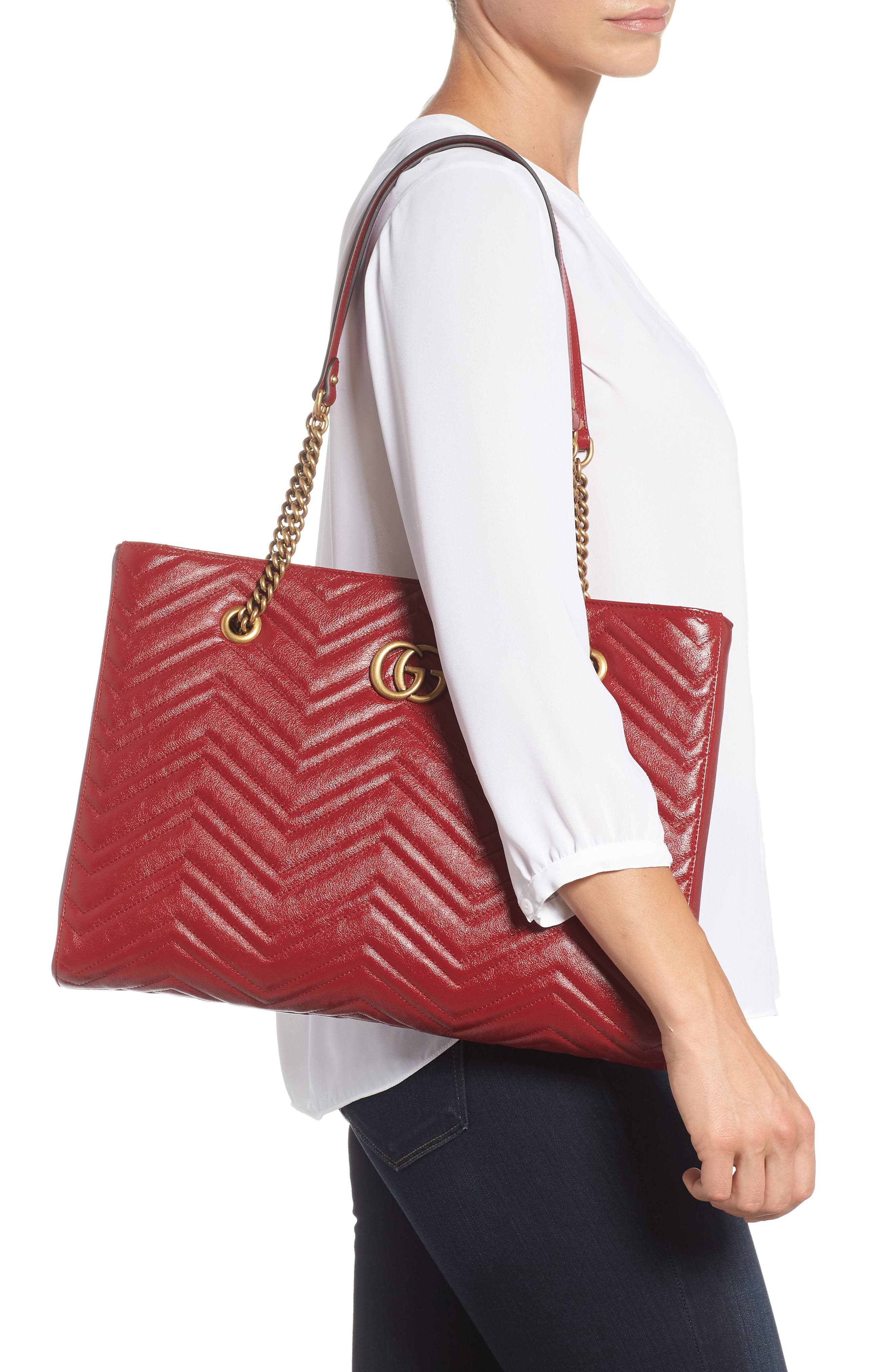 GG Marmont 2.0 Matelassé Medium Leather East/West Tote Bag,                             Alternate thumbnail 2, color,                             CERISE/ CERISE