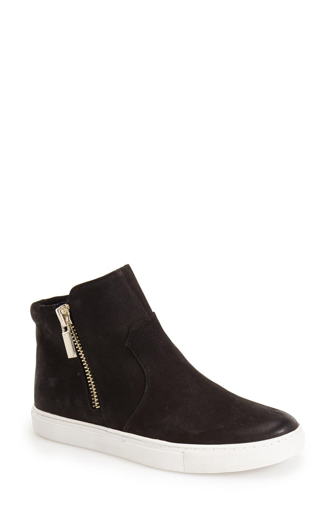 'Kiera' Zip High Top Sneaker,                         Main,                         color, BLACK LEATHER