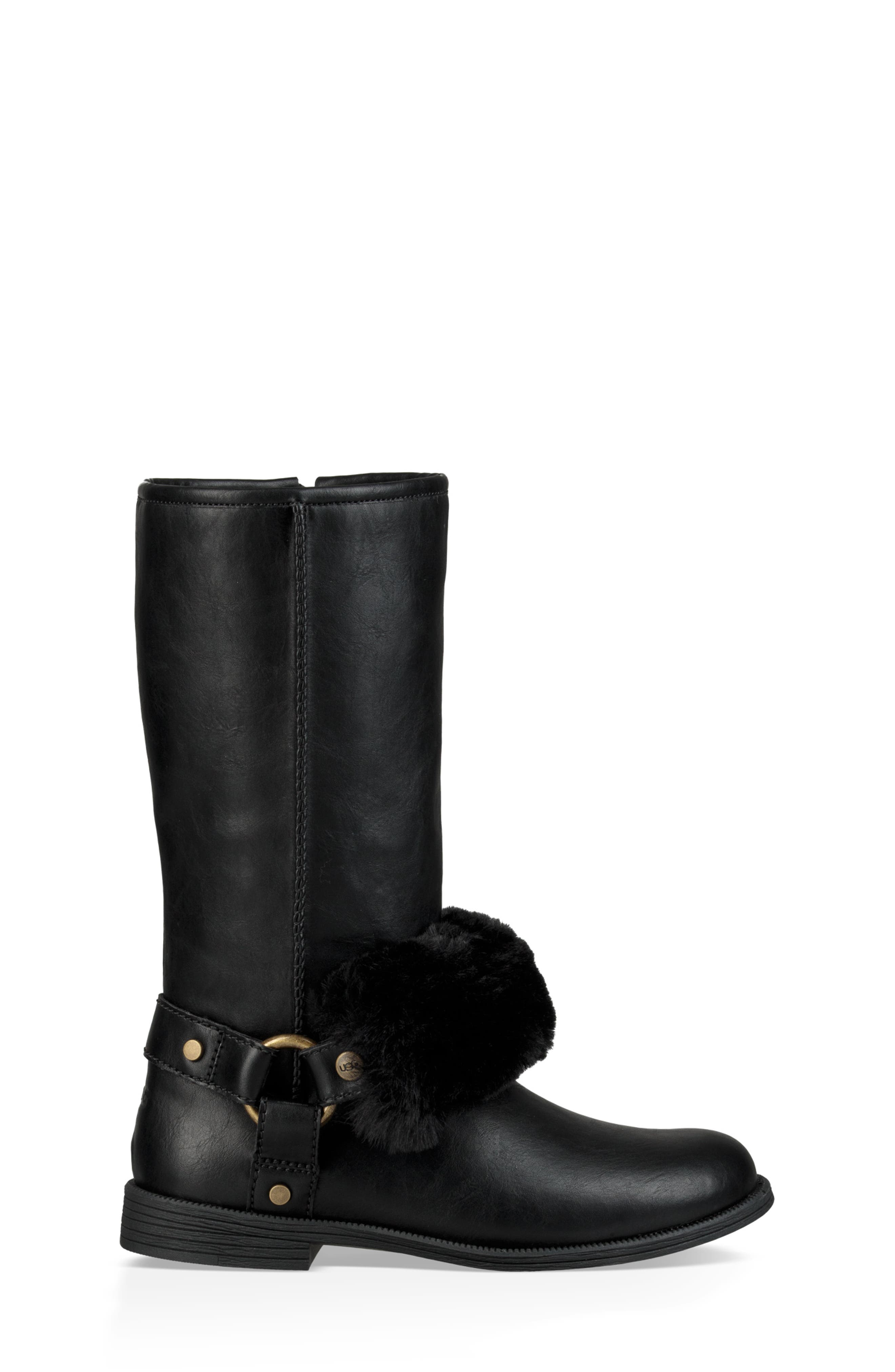 Lili Faux Shearling Boot,                             Alternate thumbnail 3, color,                             BLACK