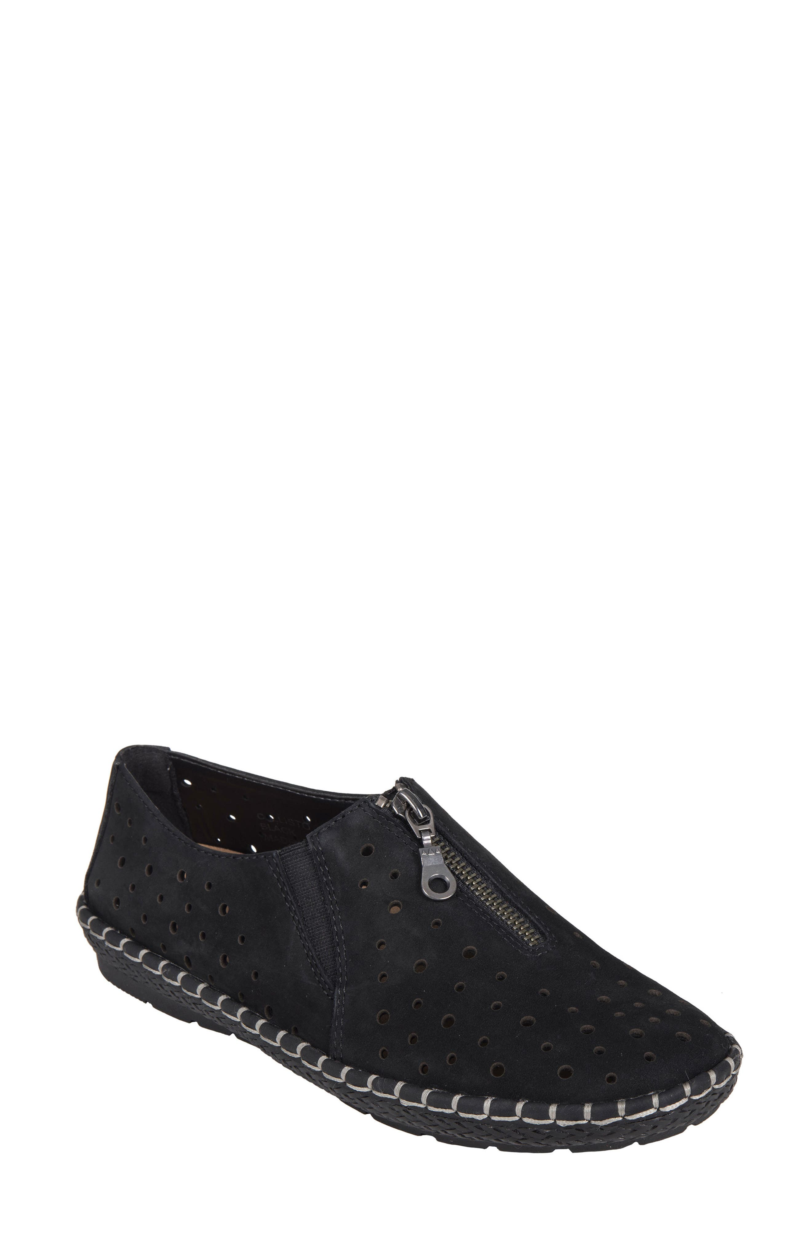 Callisto Perforated Zip Moccasin,                         Main,                         color, 001
