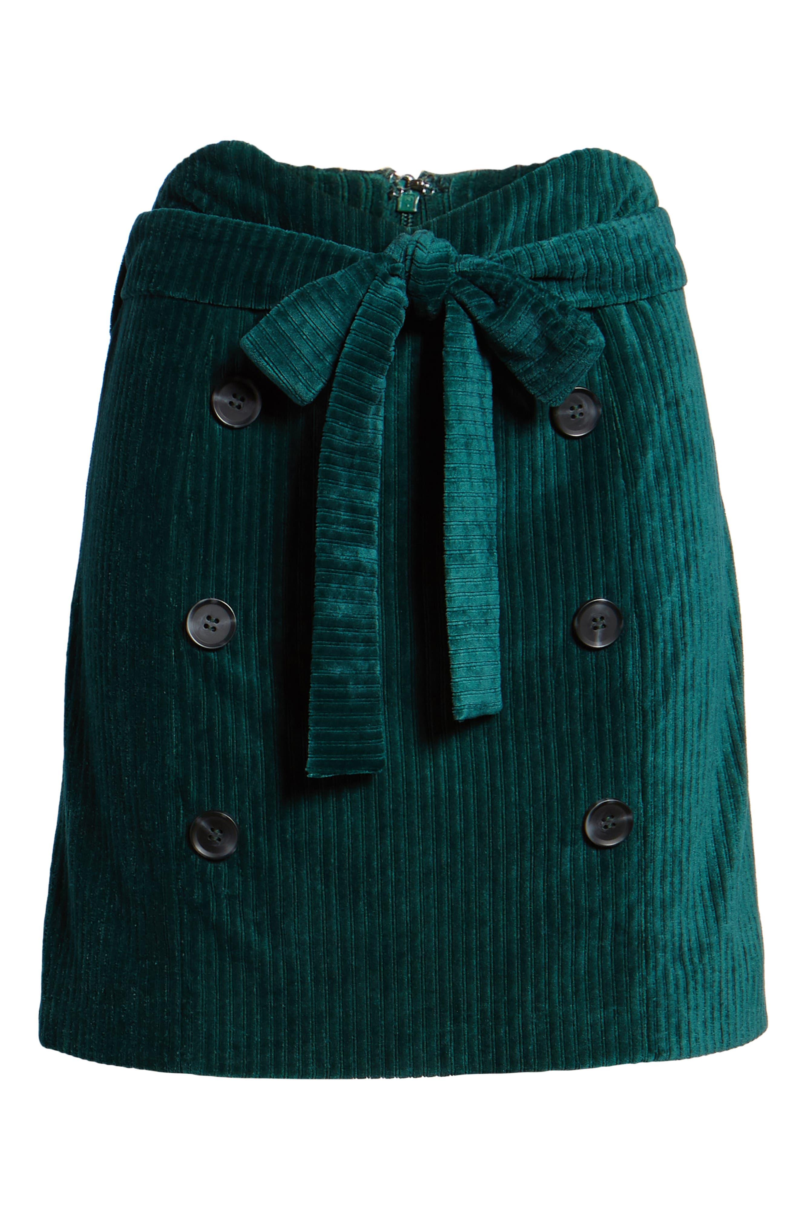 Velour Tie Waist Skirt,                             Alternate thumbnail 6, color,                             PINE