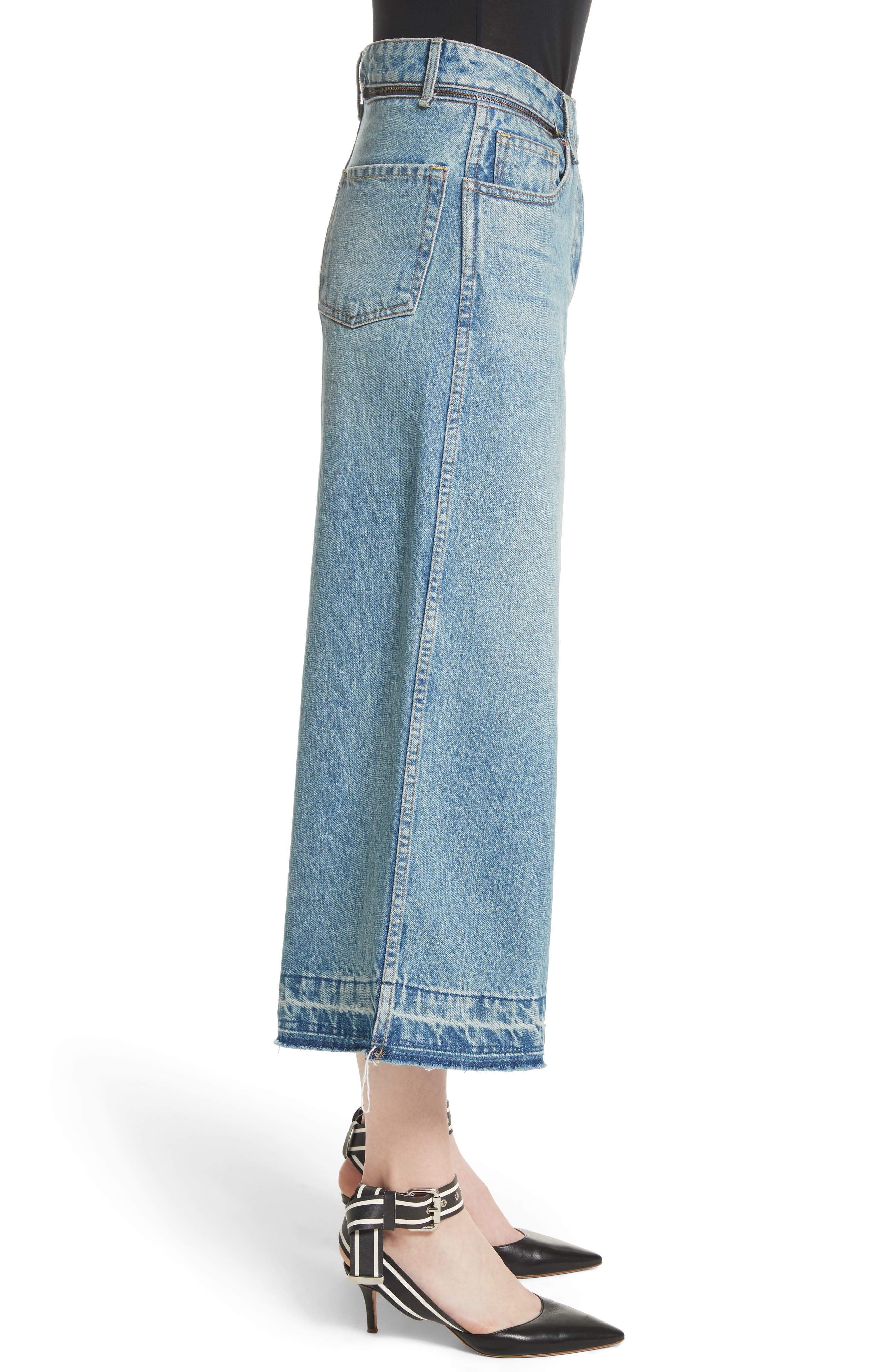 Shifted Zip Crop Wide Leg Jeans,                             Alternate thumbnail 3, color,                             400