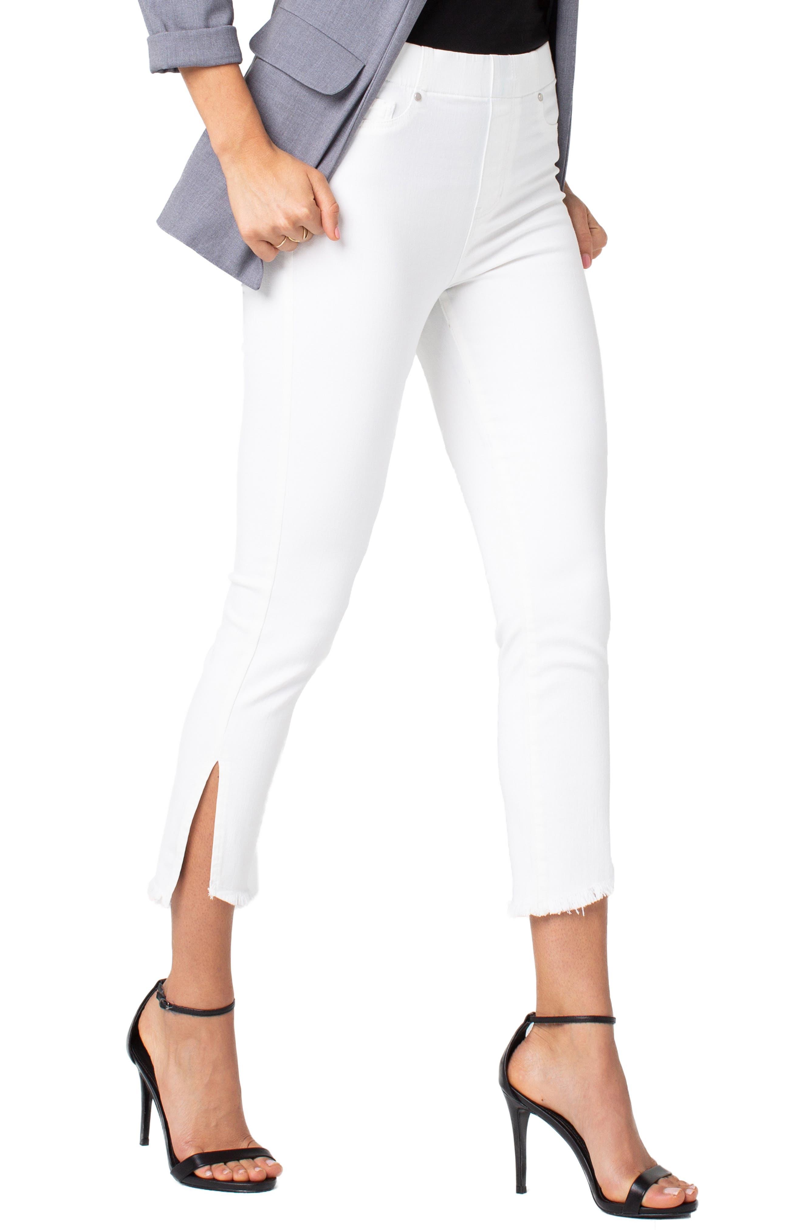 Chloe High Waist Slit Hem Pull-On Skinny Jeans,                             Alternate thumbnail 3, color,                             BRIGHT WHITE