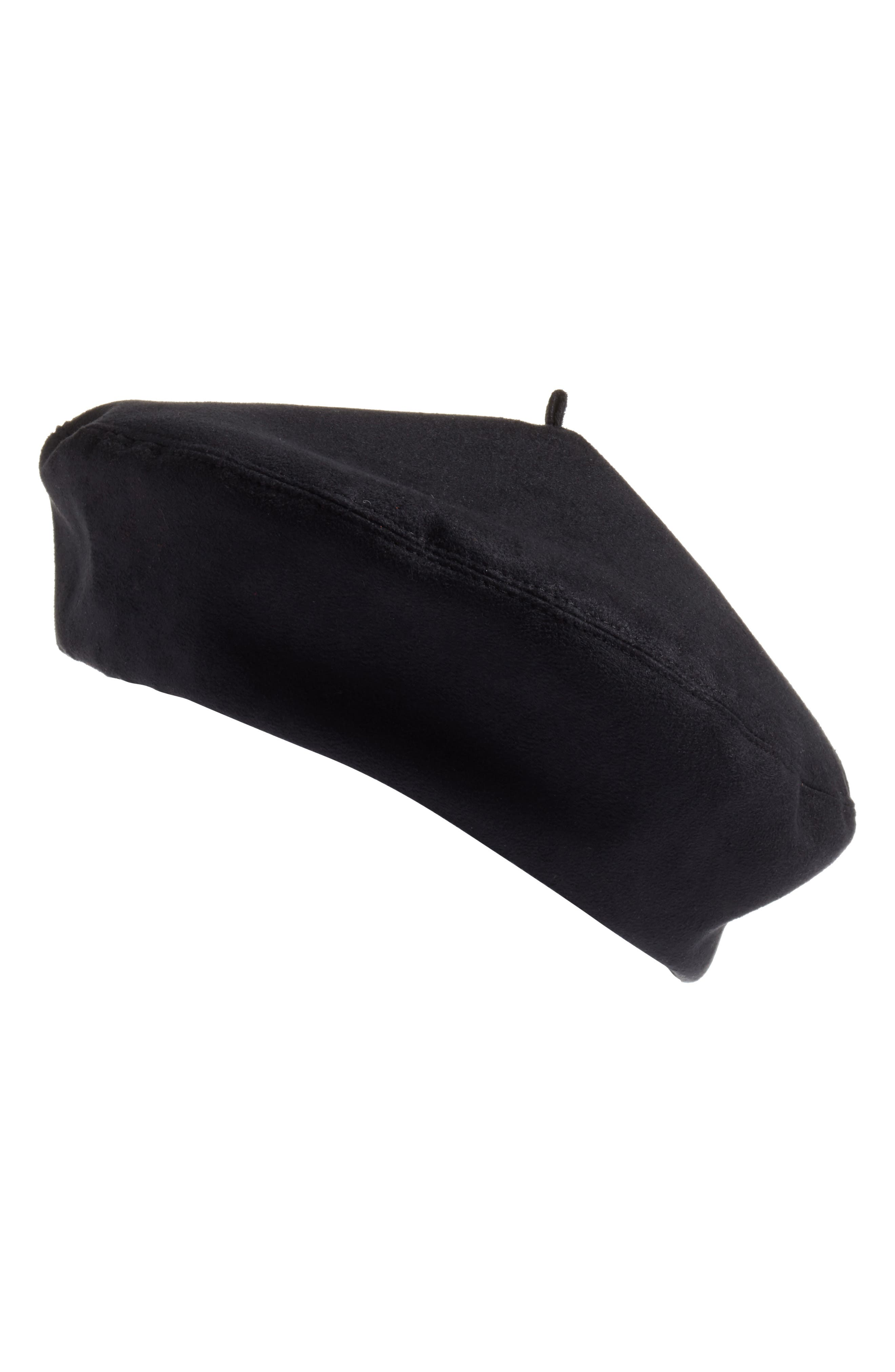 Betty Water-Resistant Faux Suede Beret,                             Main thumbnail 1, color,                             001
