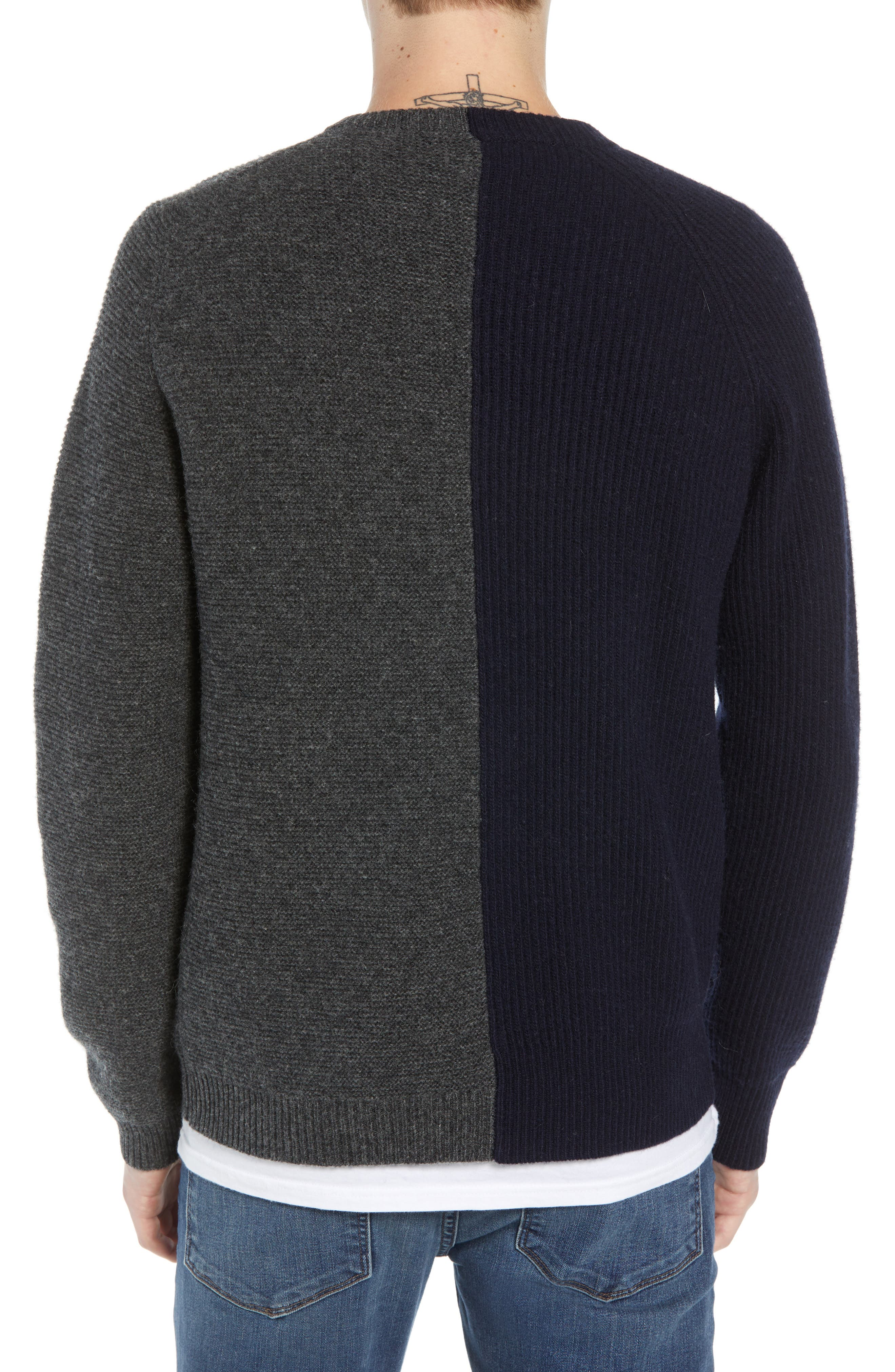 Mixed Texture Wool Blend Sweater,                             Alternate thumbnail 2, color,                             UTILITY BLUE CHARCOAL MELANGE